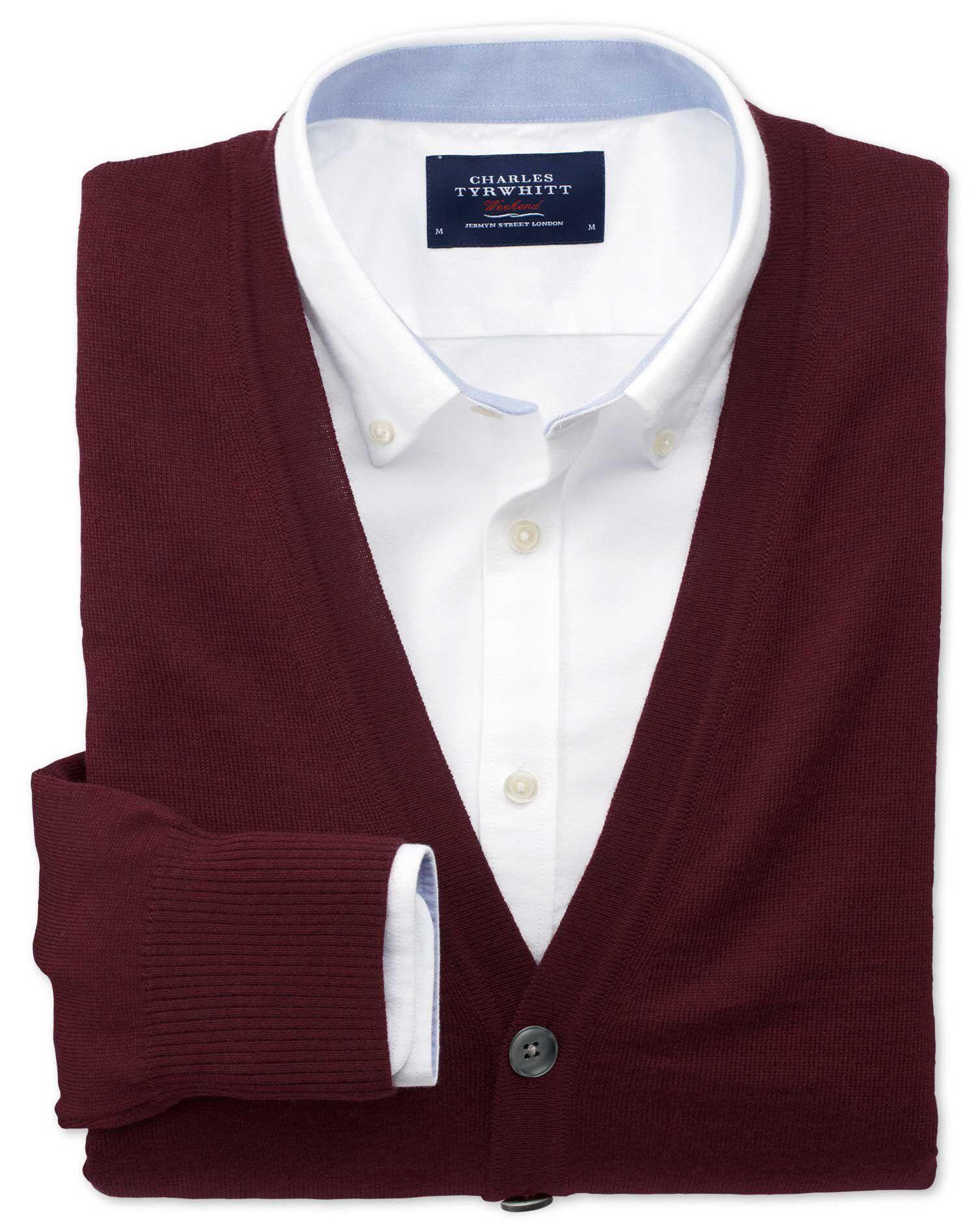 Wine Merino Wool Cardigan Size XS by Charles Tyrwhitt