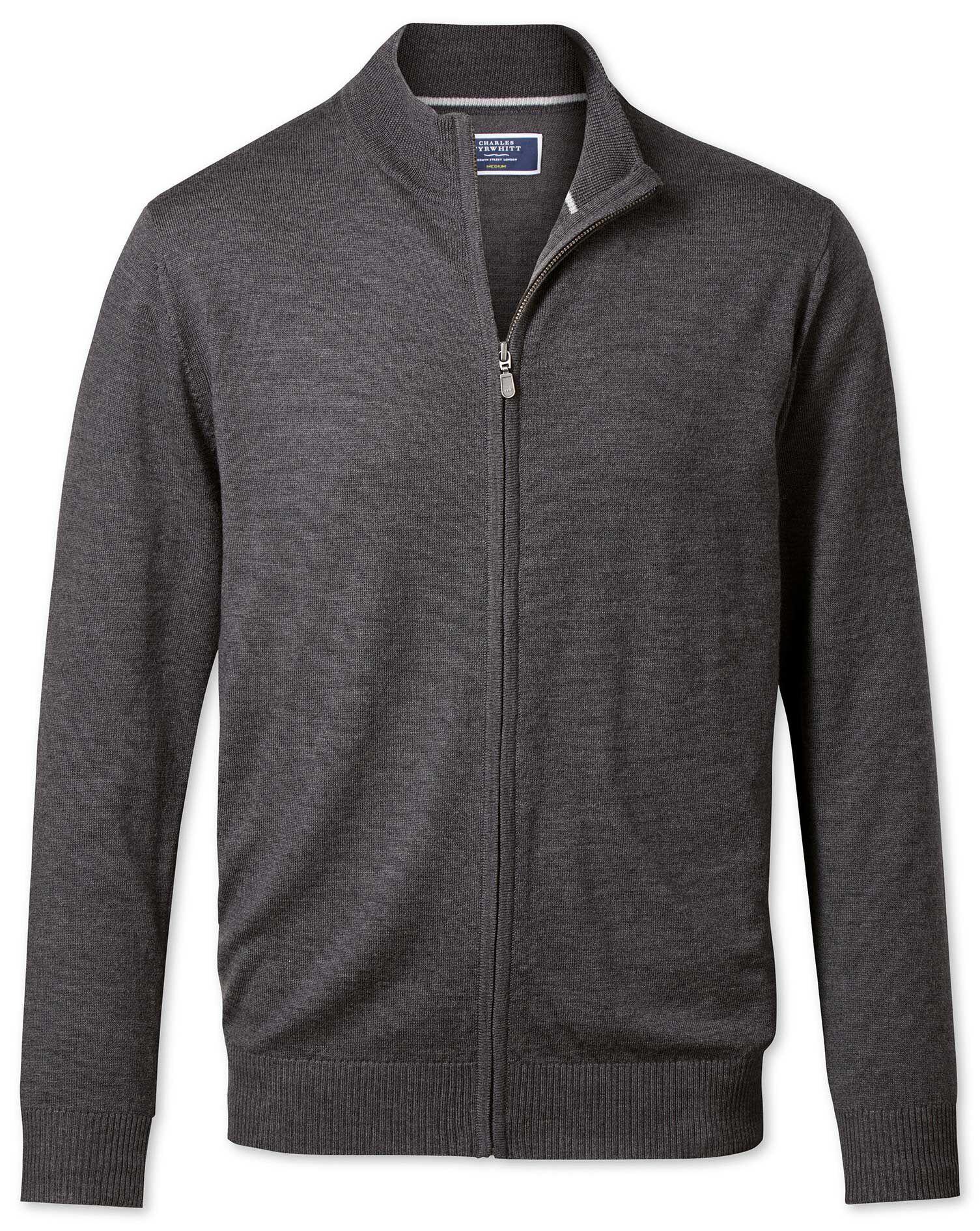 Charcoal Merino Wool Zip Through Cardigan Size Medium by Charles Tyrwhitt