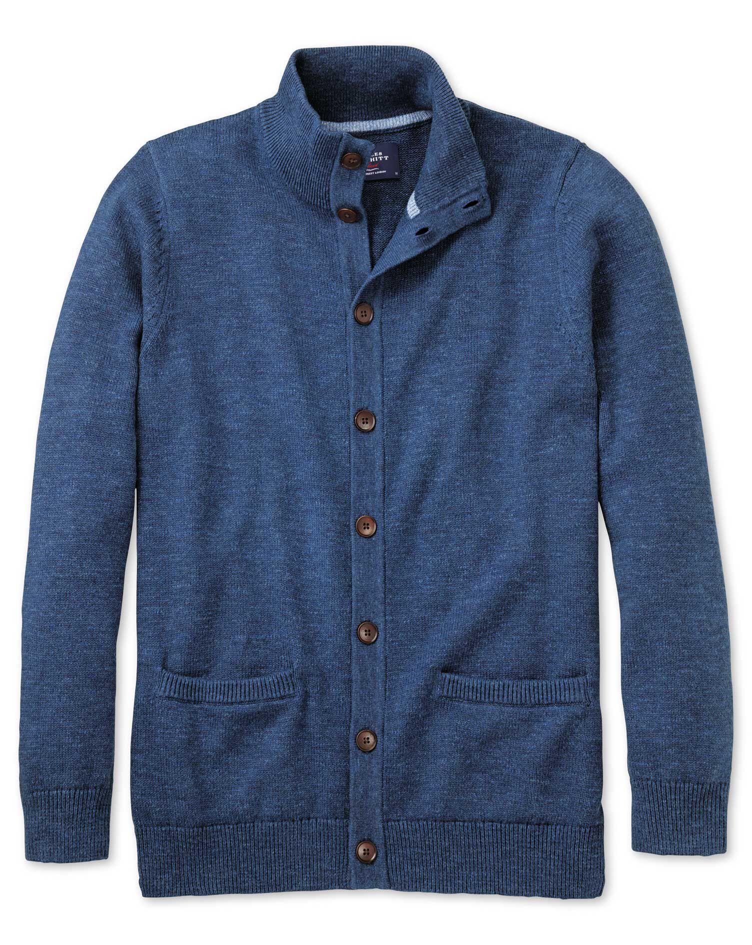 Blue Heather Button Through Cotton Cardigan Size XS by Charles Tyrwhitt