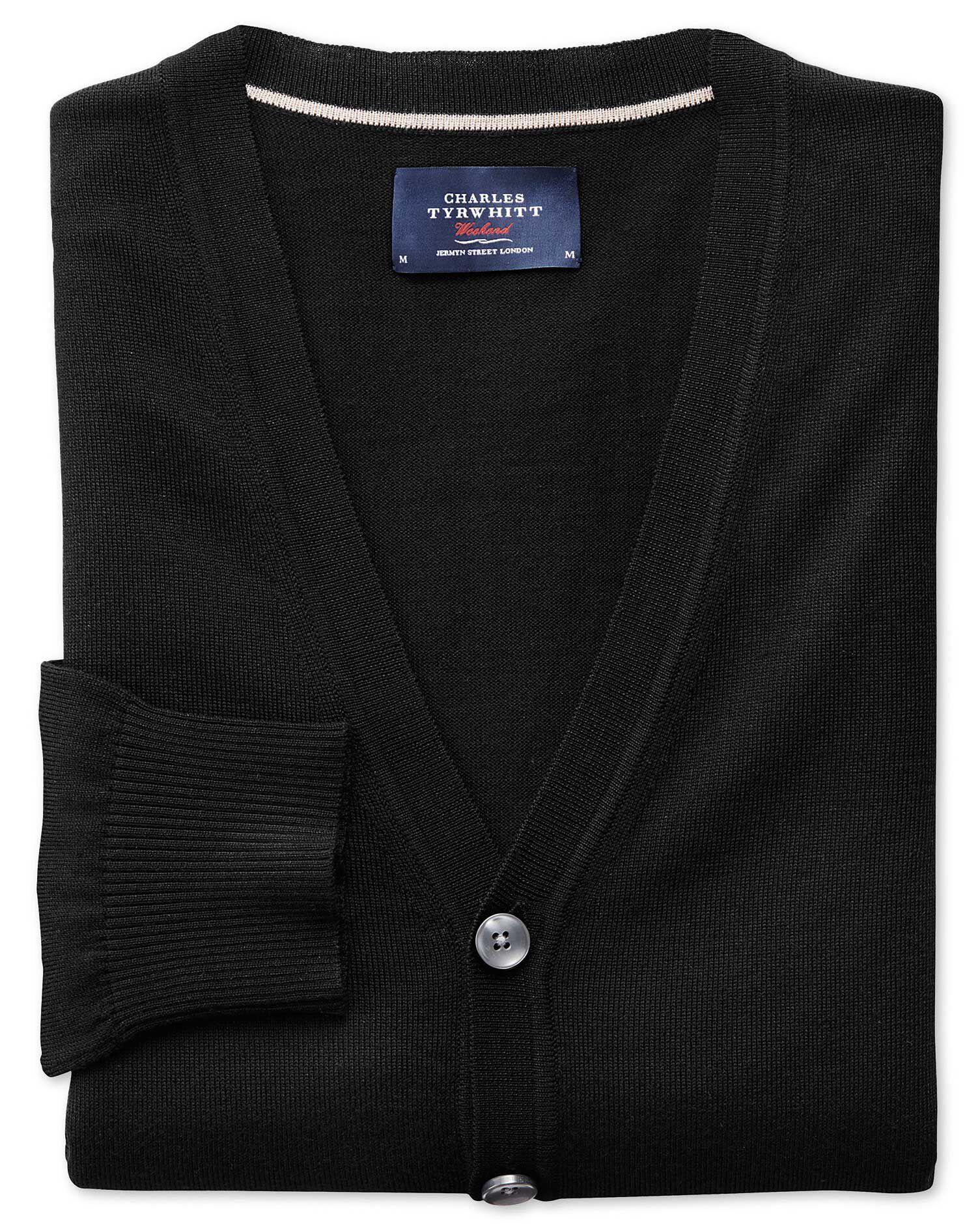 Black Merino Wool Cardigan Size XXL by Charles Tyrwhitt