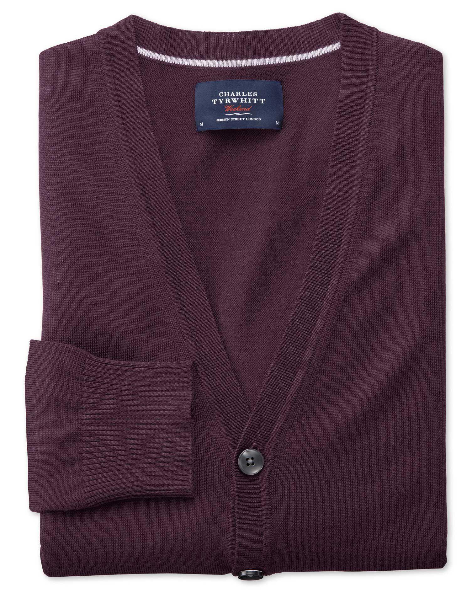 Wine Merino Wool Cardigan Size Large by Charles Tyrwhitt