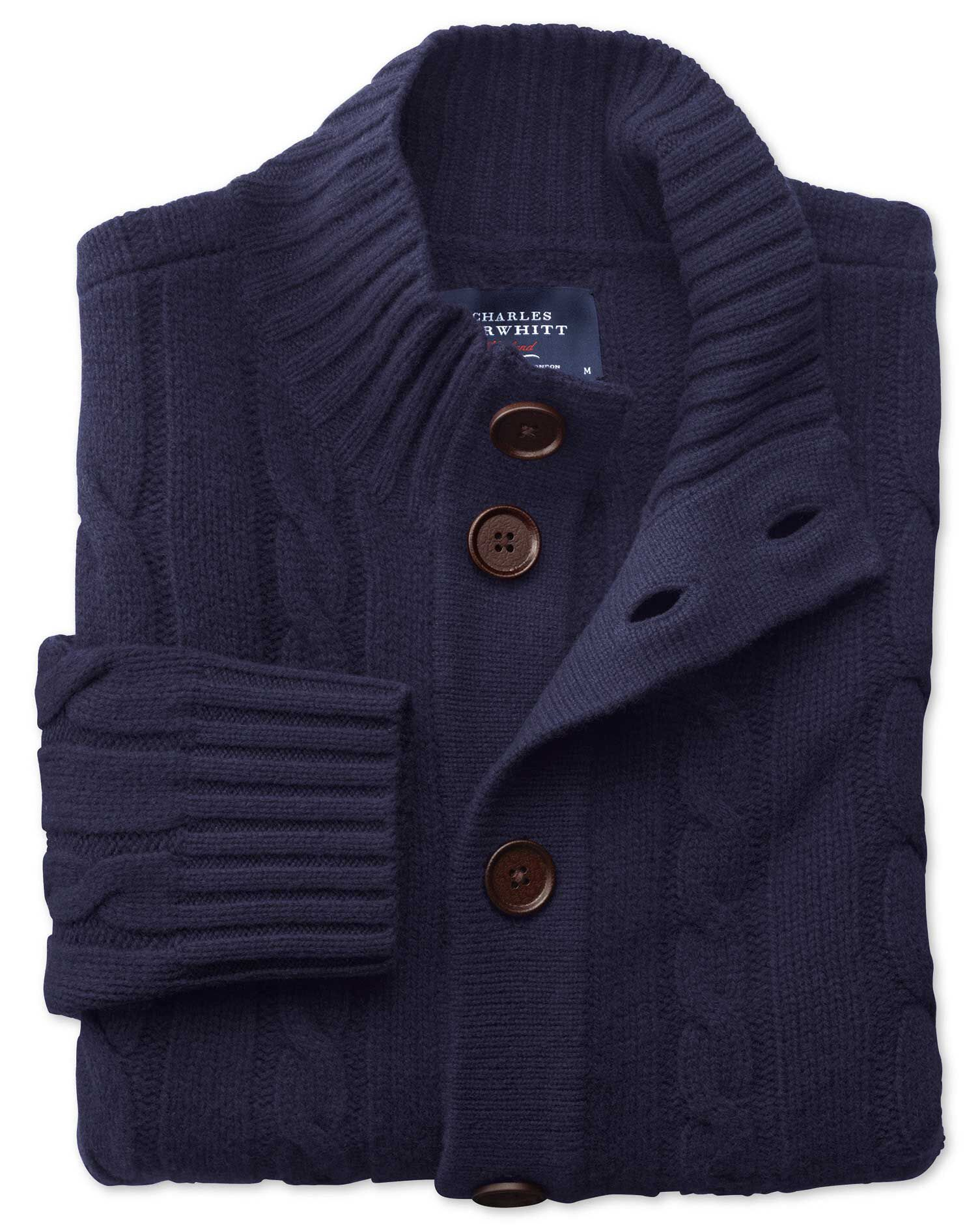 Navy Lambswool Cable Cardigan Size Small by Charles Tyrwhitt