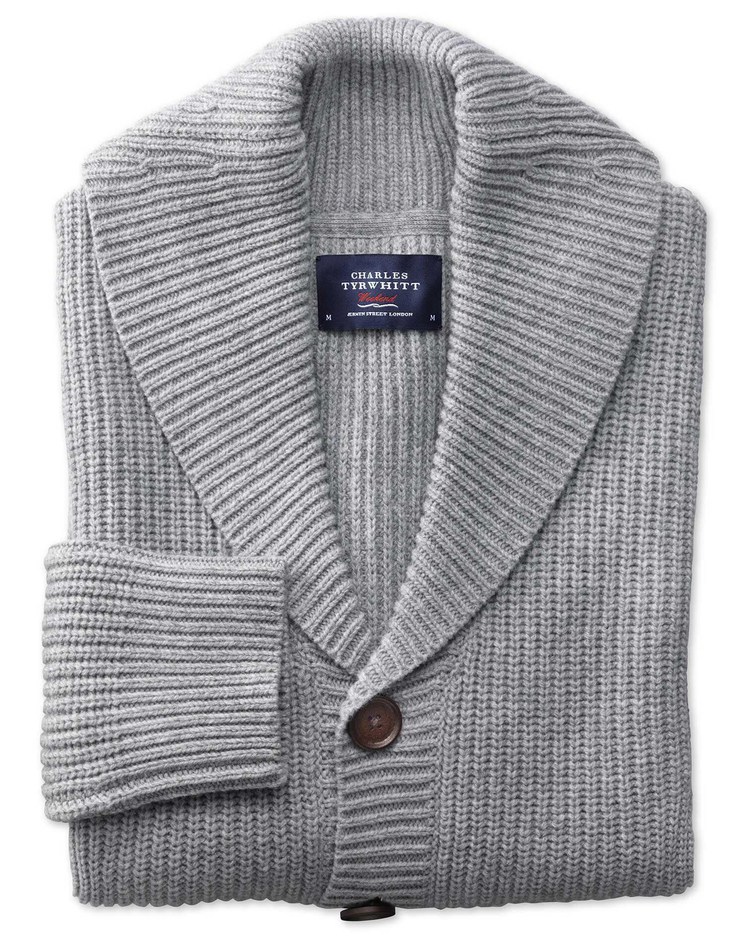 Light Grey Rib Shawl Collar Wool Cardigan Size Small by Charles Tyrwhitt