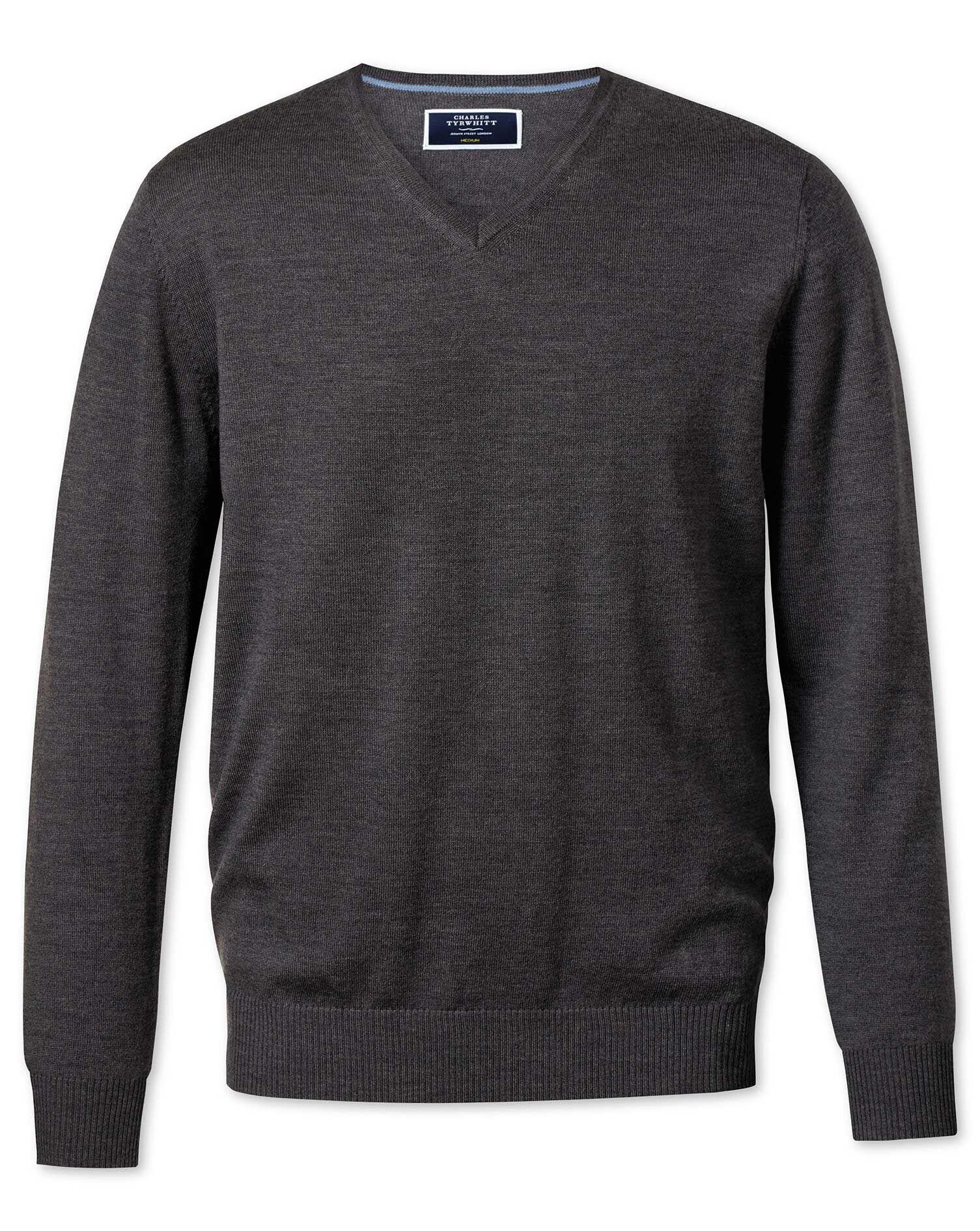 Charcoal Merino Wool V-Neck Jumper Size XL by Charles Tyrwhitt