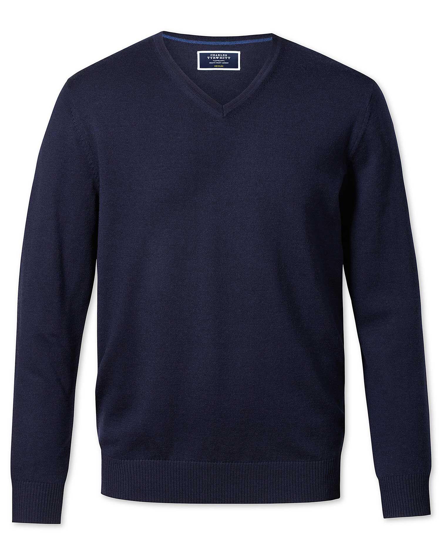 Navy Merino Wool V-Neck Jumper Size XXXL by Charles Tyrwhitt