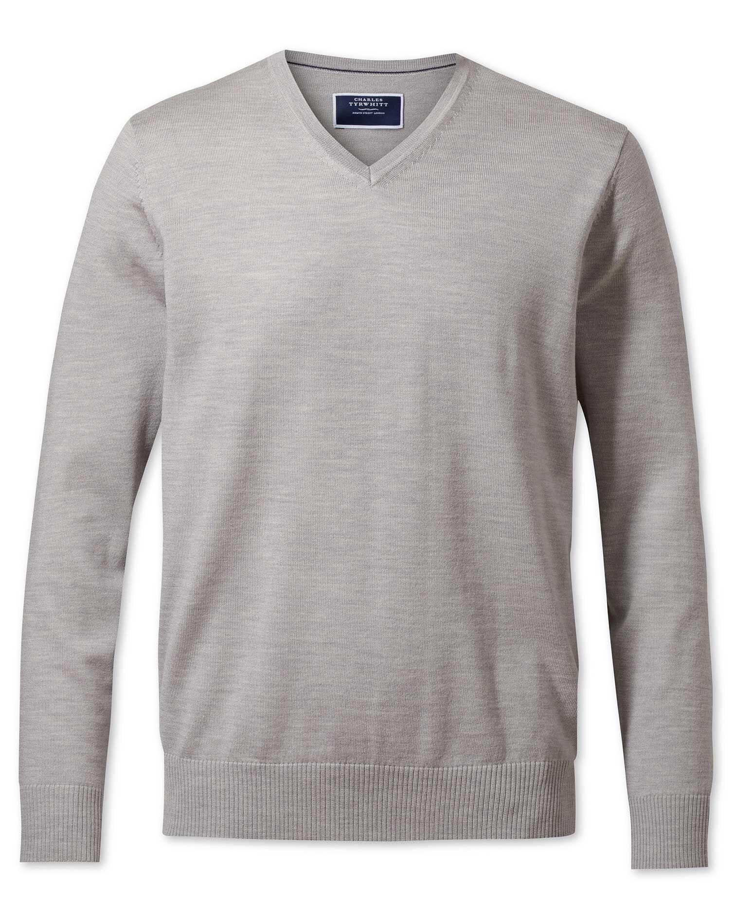 Silver Merino Wool V-Neck Jumper Size XXL by Charles Tyrwhitt
