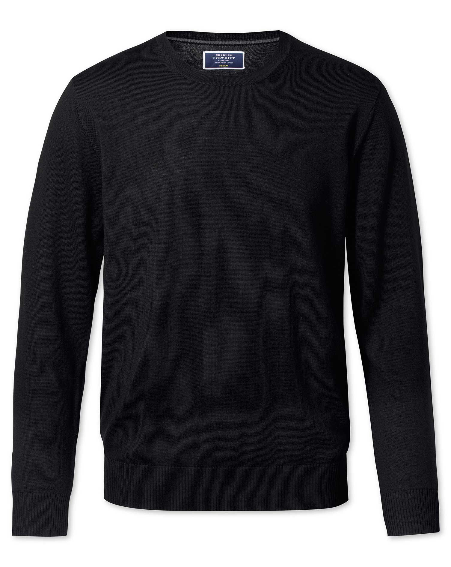 Black Merino Wool Crew Neck Jumper Size XS by Charles Tyrwhitt