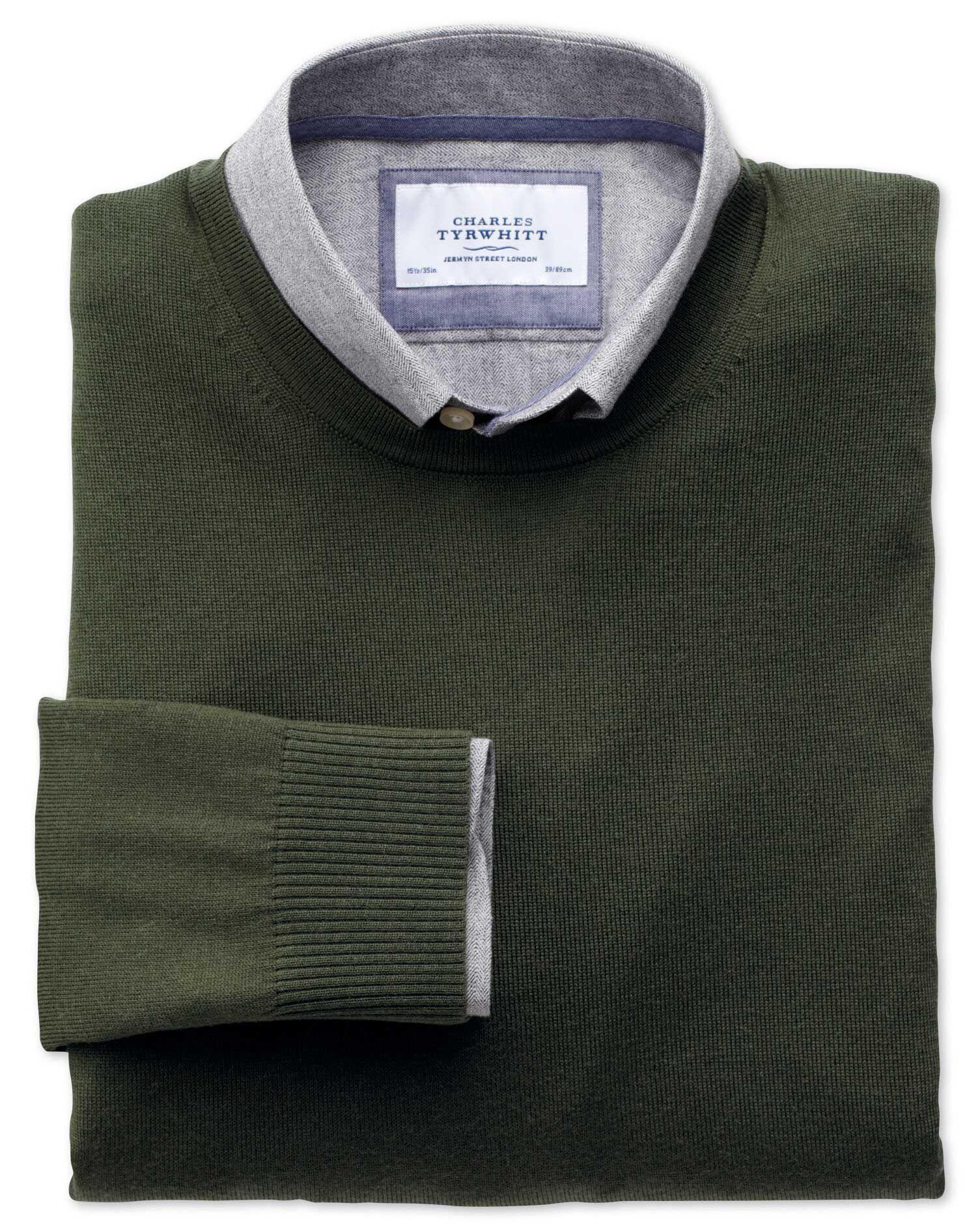 Dark Green Merino Wool Crew Neck Jumper Size Small by Charles Tyrwhitt