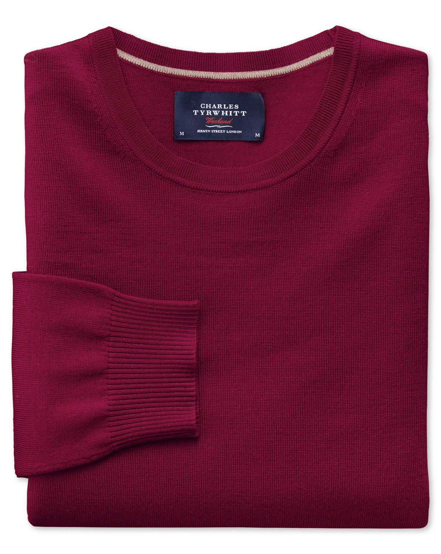 Dark Red Merino Wool Crew Neck Jumper Size Medium by Charles Tyrwhitt