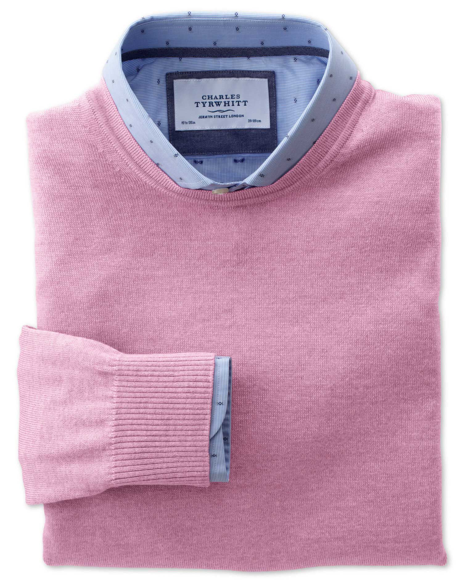 Light Pink Merino Wool Crew Neck Jumper Size Medium by Charles Tyrwhitt