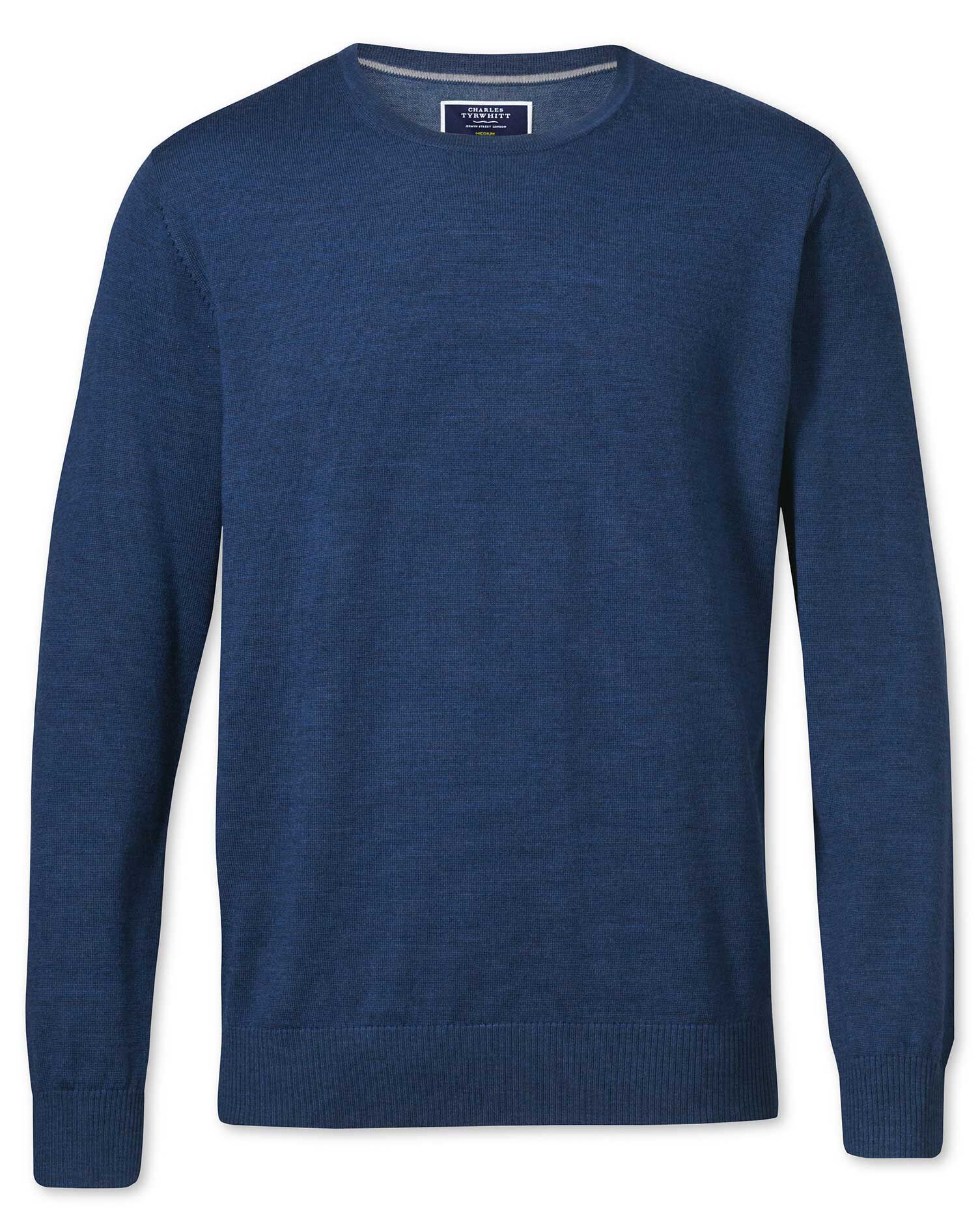 Mid Blue Merino Wool Crew Neck Jumper Size Large by Charles Tyrwhitt