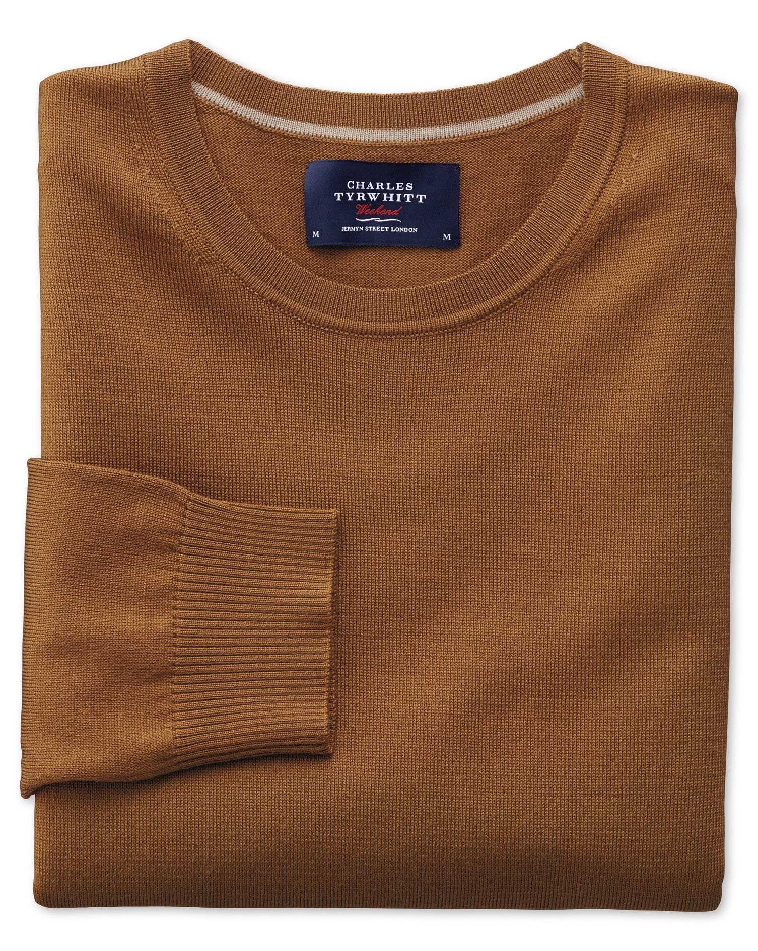 Tan Merino Wool Crew Neck Jumper Size XXXL by Charles Tyrwhitt