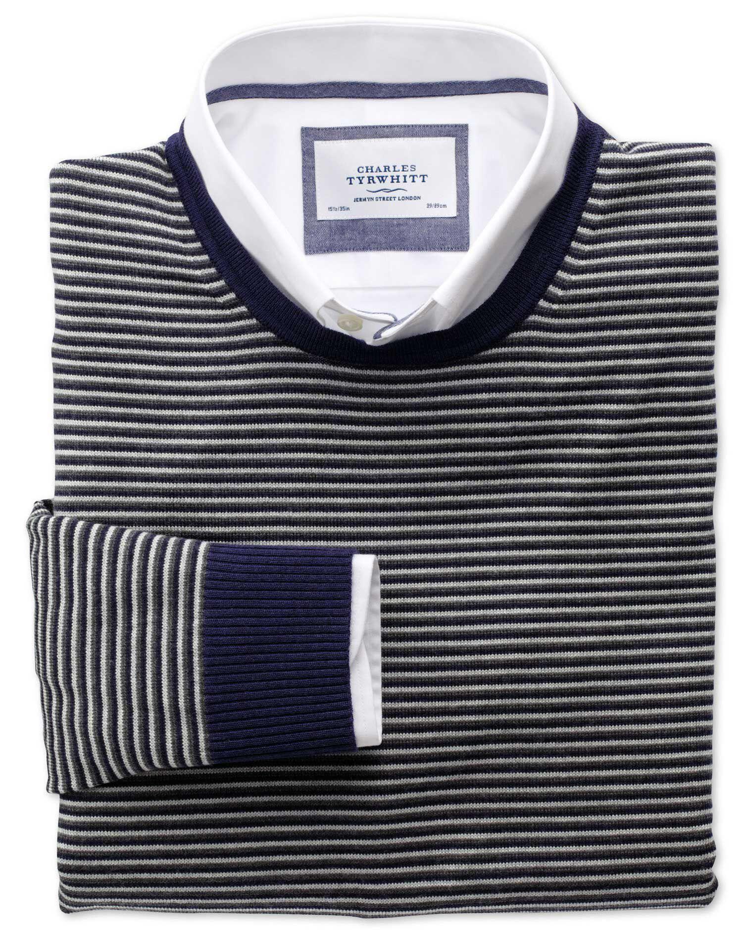 Grey and Charcoal Stripe Merino Wool Crew Neck Jumper Size XXL by Charles Tyrwhitt