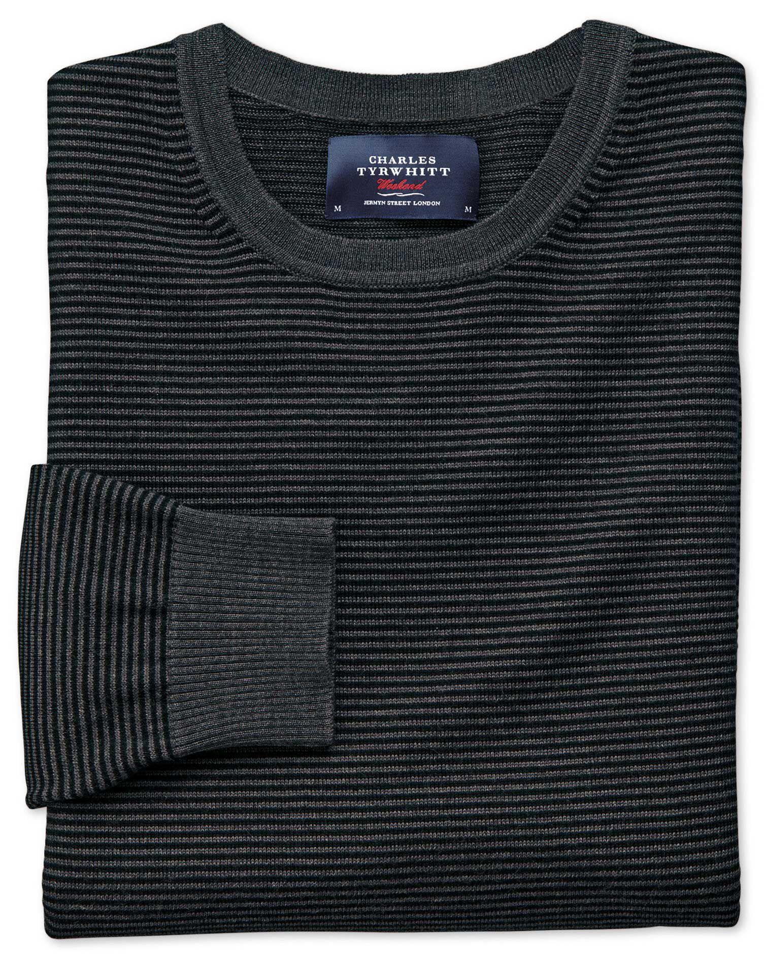 Black and Grey Merino Wool Crew Neck Jumper Size XXXL by Charles Tyrwhitt