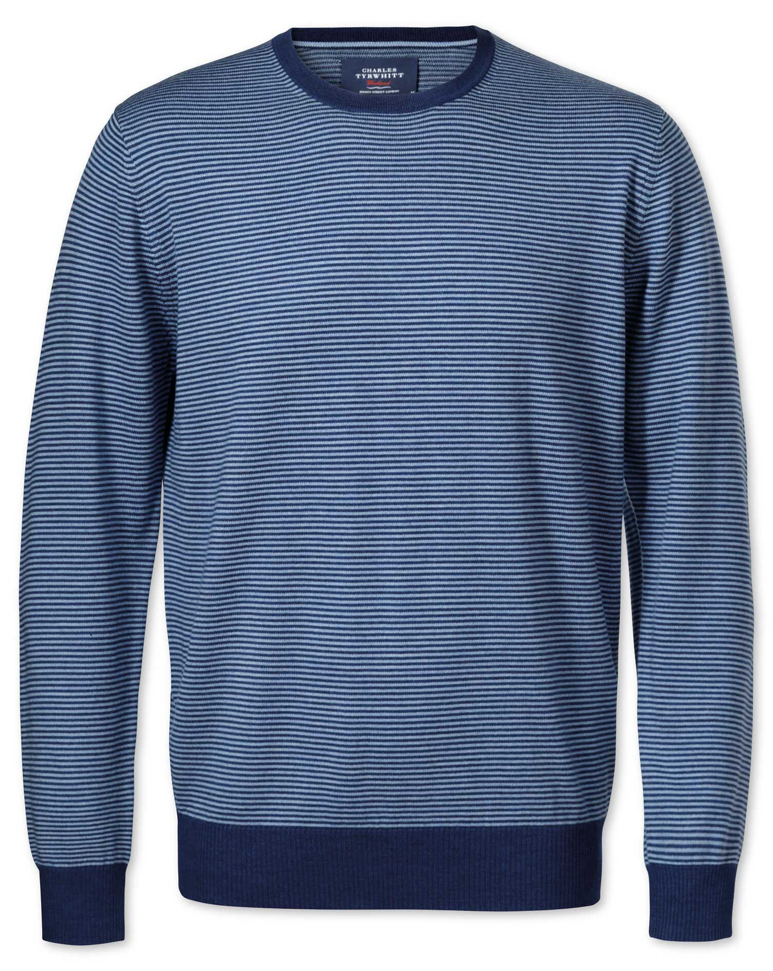 Mid Blue Merino Crew Neck Wool Jumper Size XS by Charles Tyrwhitt