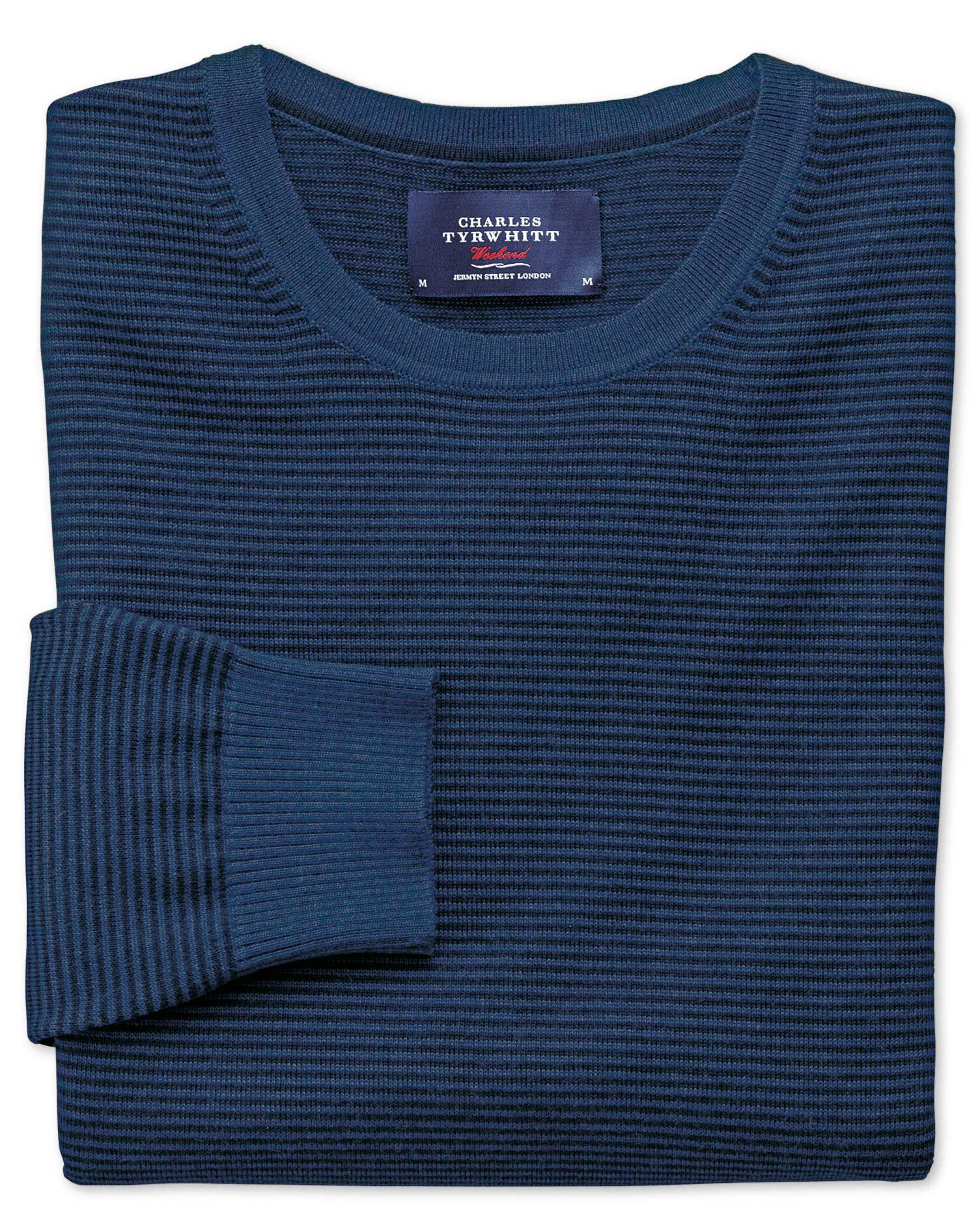Navy and Blue Merino Wool Crew Neck Jumper Size XXXL by Charles Tyrwhitt