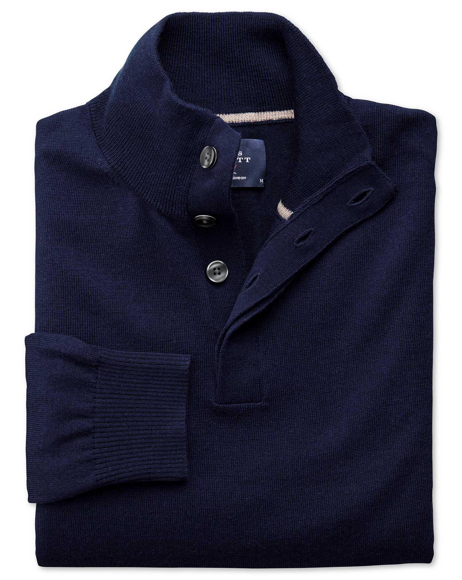 Navy Merino Wool Button Neck Jumper Size Large by Charles Tyrwhitt