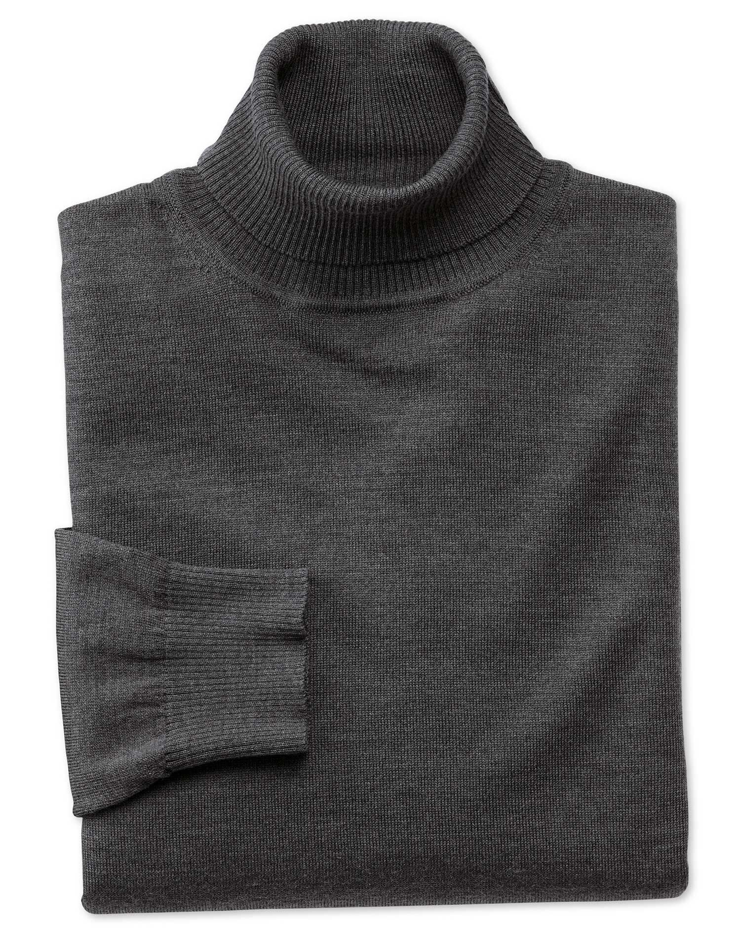 Charcoal Merino Wool Roll Neck Jumper Size Small by Charles Tyrwhitt