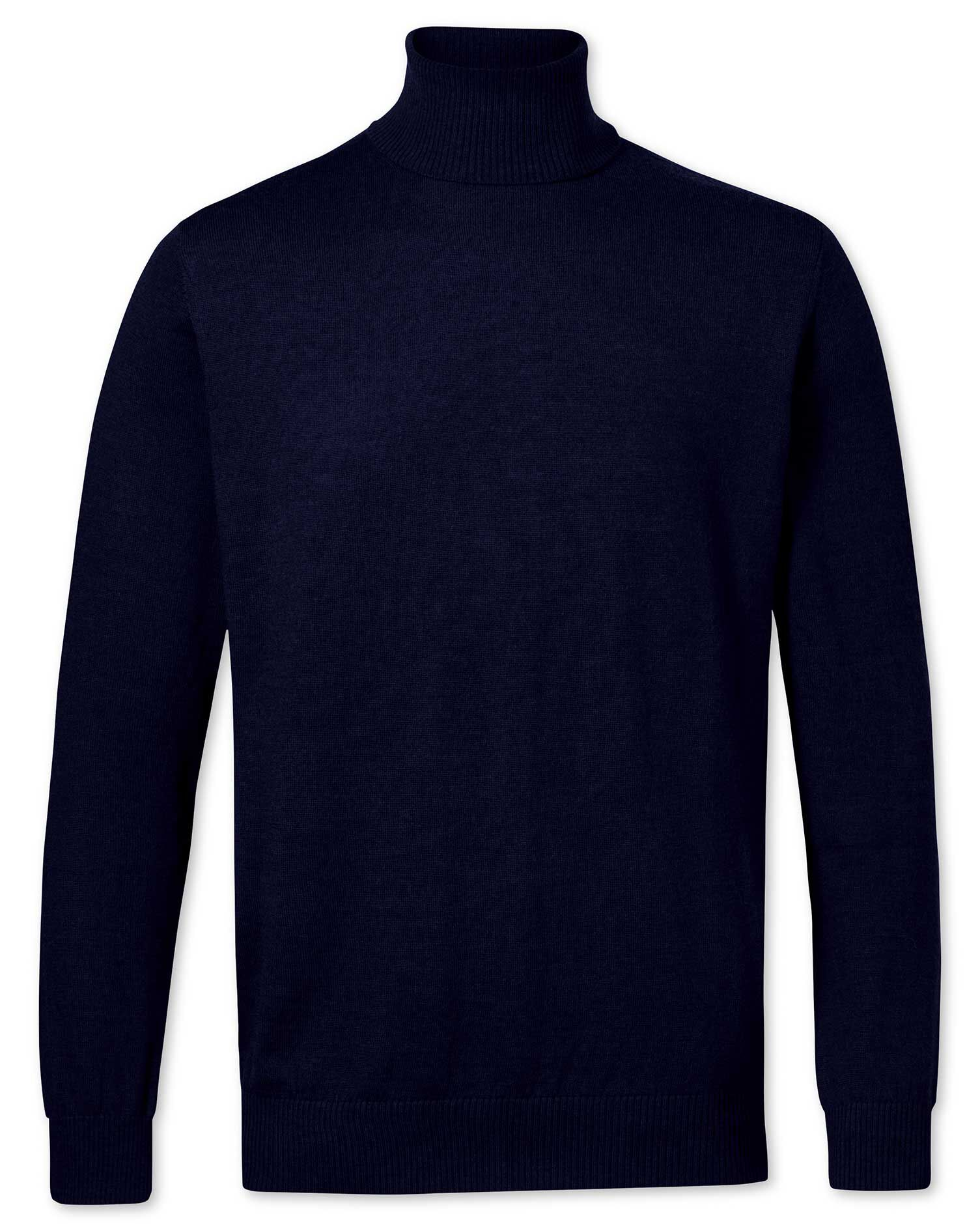 Navy Merino Wool Roll Neck Jumper Size XL by Charles Tyrwhitt