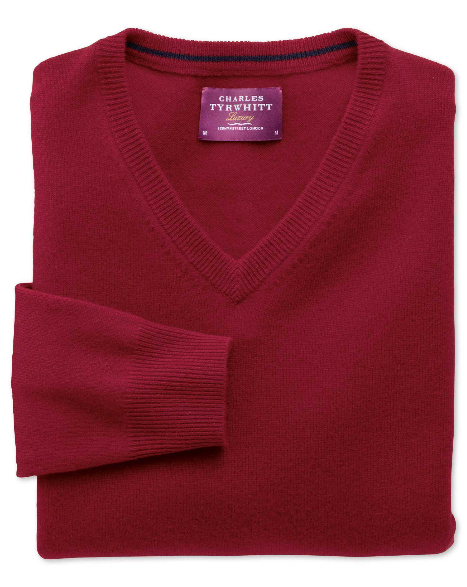 Red Cashmere V-Neck Jumper Size XXL by Charles Tyrwhitt
