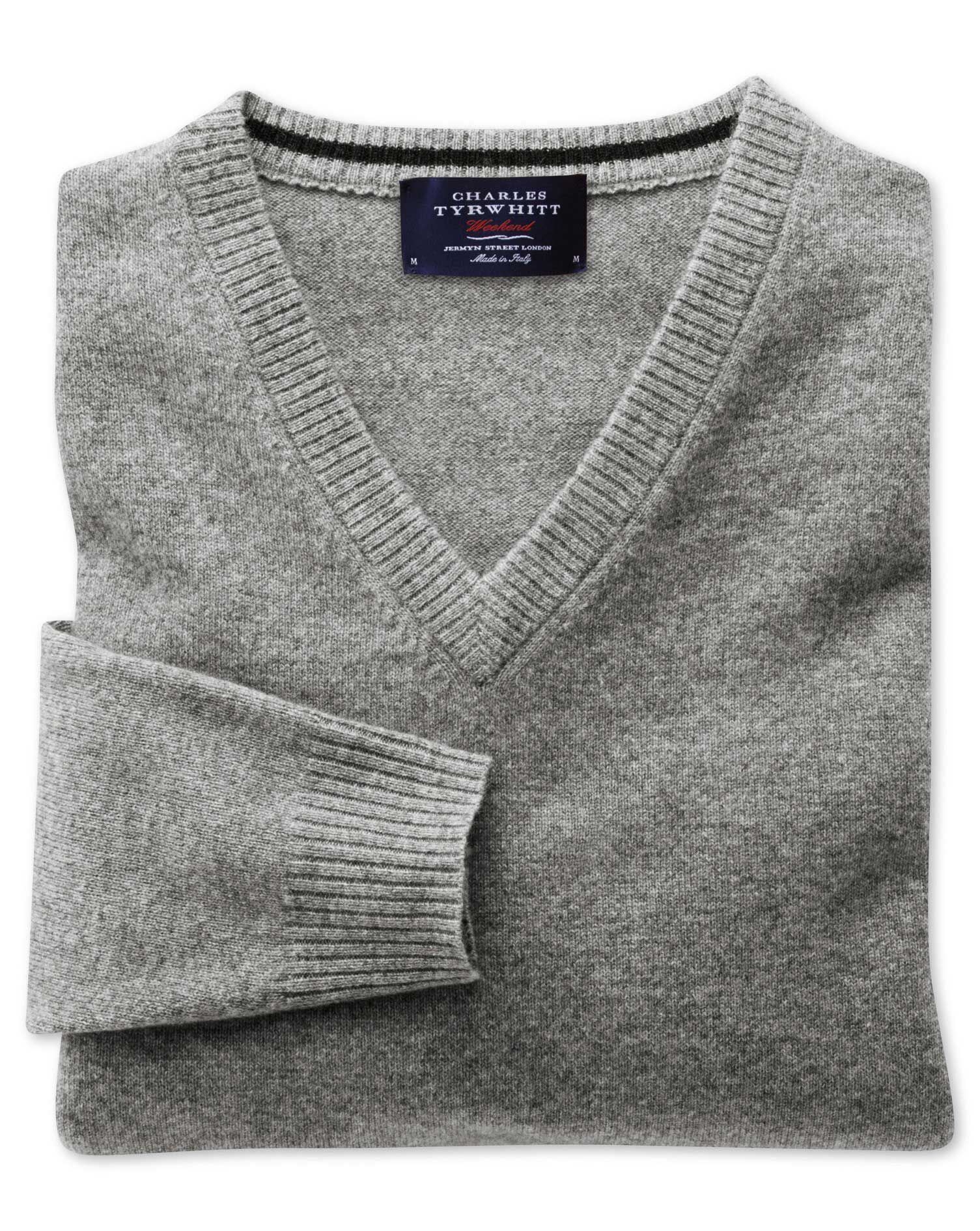 Silver Grey Cashmere V-Neck Jumper Size Small by Charles Tyrwhitt