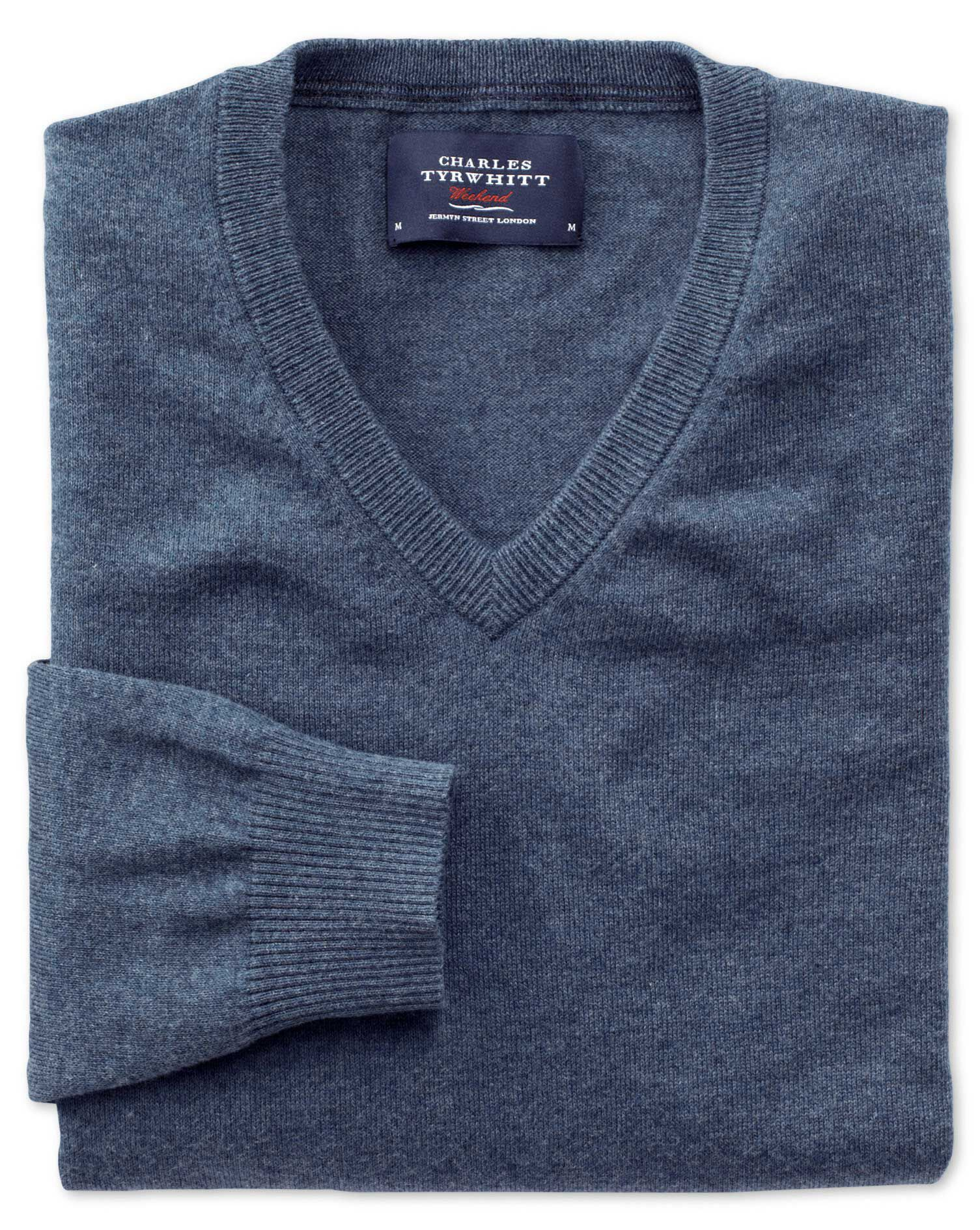 Blue Cotton Cashmere V-Neck Jumper Size Large by Charles Tyrwhitt