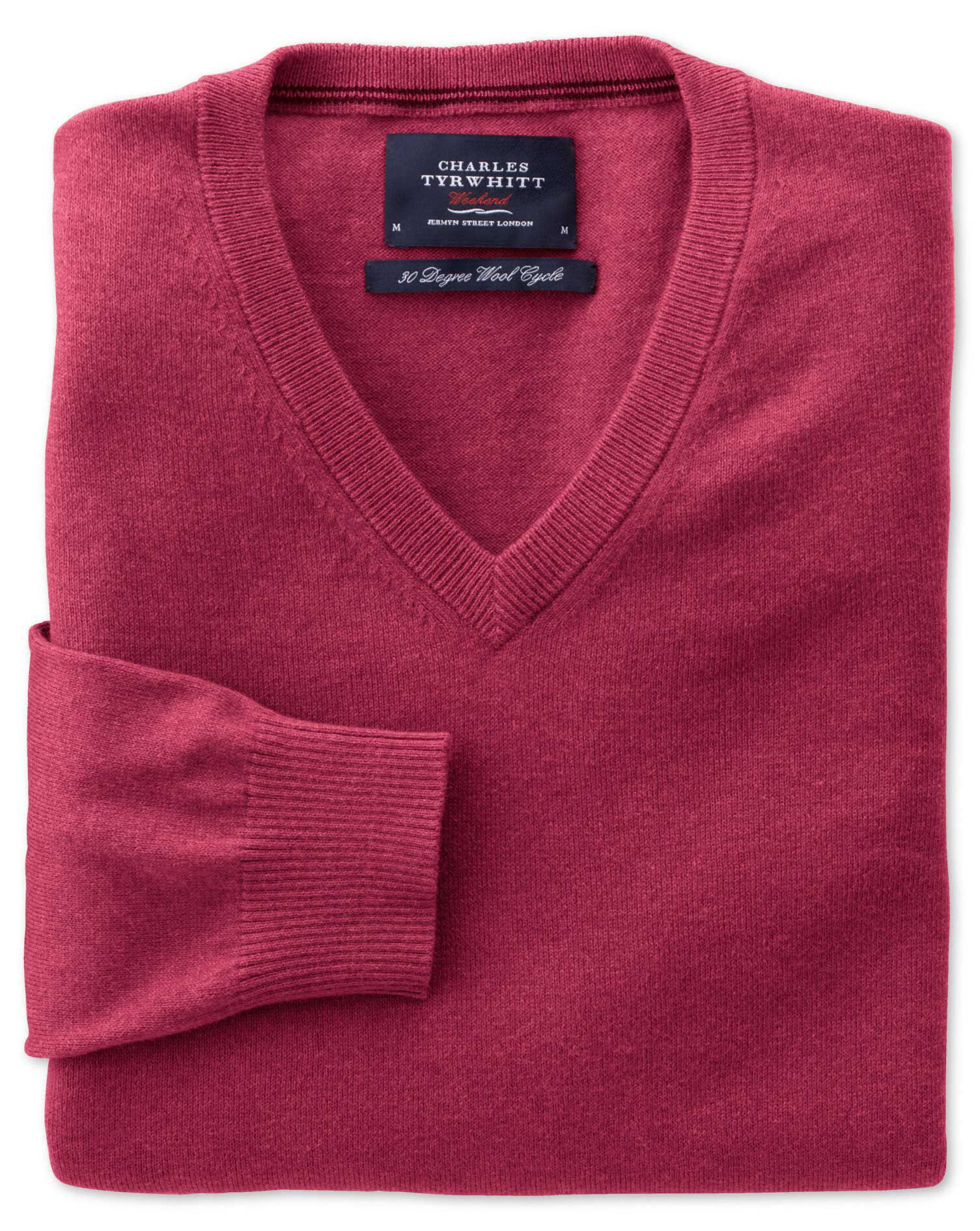 Coral Cotton Cashmere V-Neck Jumper Size Small by Charles Tyrwhitt