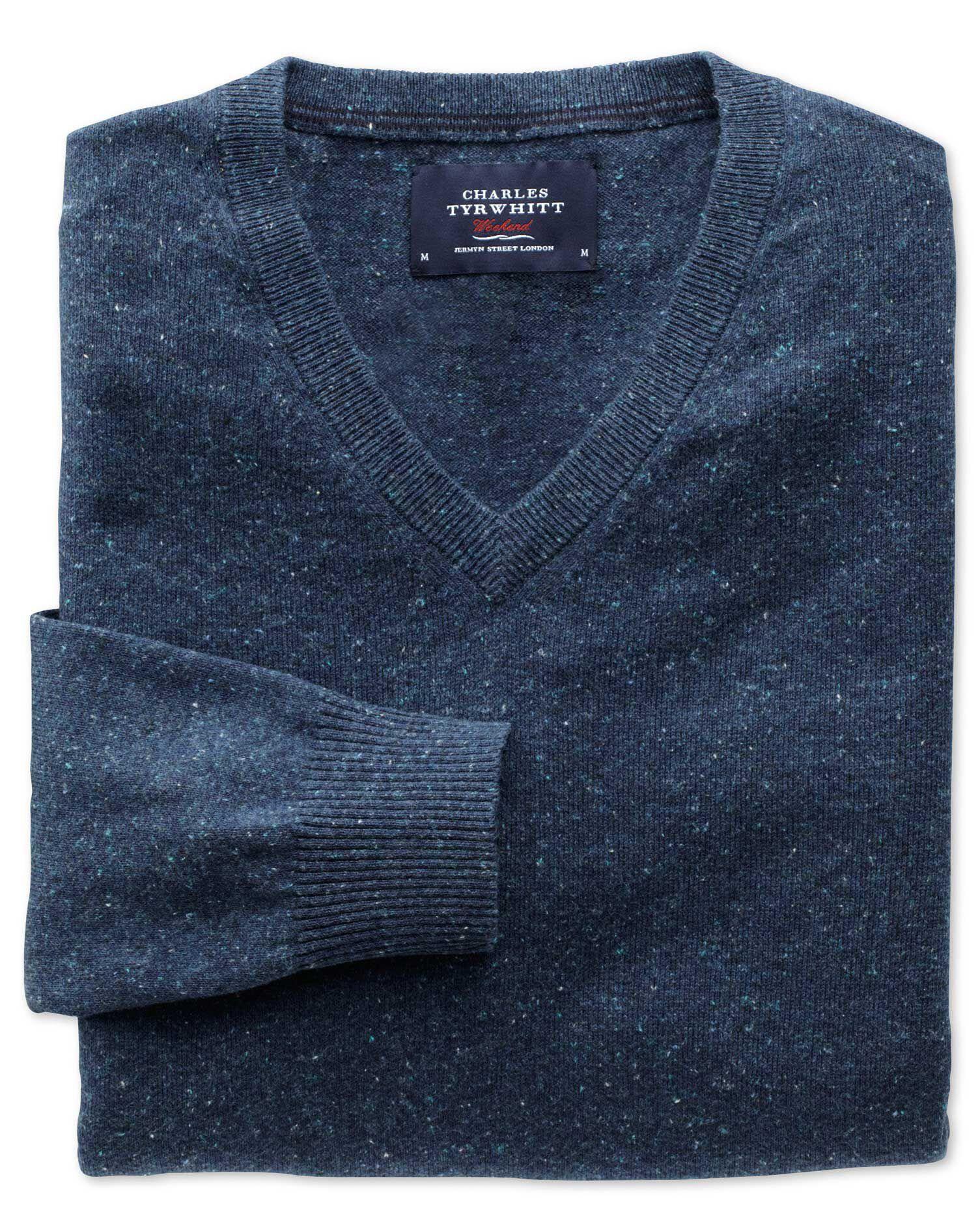 Indigo Cotton Cashmere V-Neck Jumper Size XS by Charles Tyrwhitt