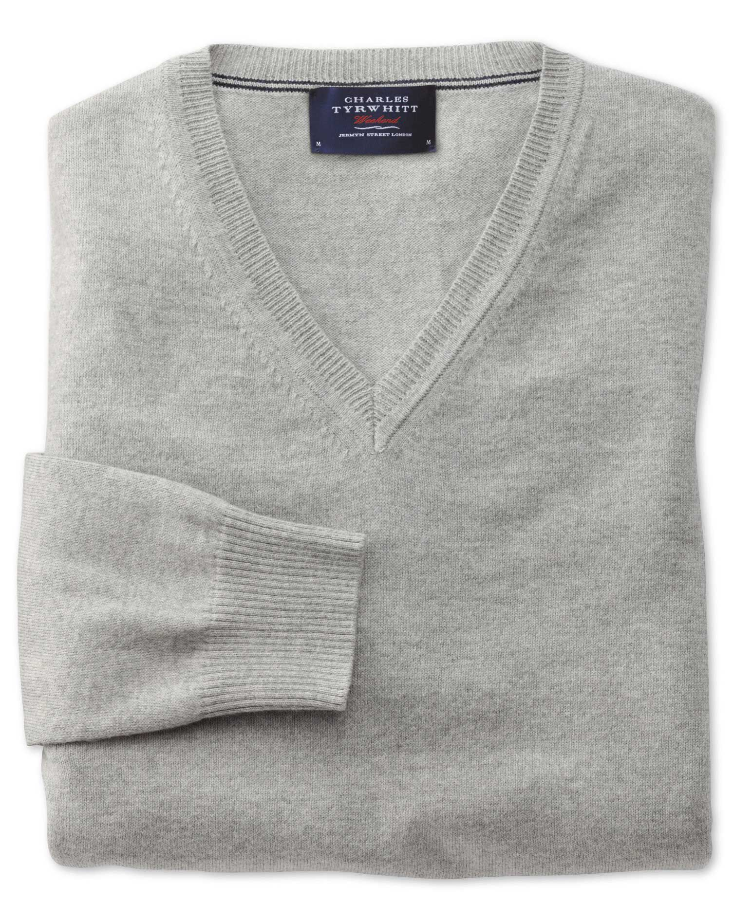 Light Grey Cotton Cashmere V-Neck Jumper Size XXL by Charles Tyrwhitt