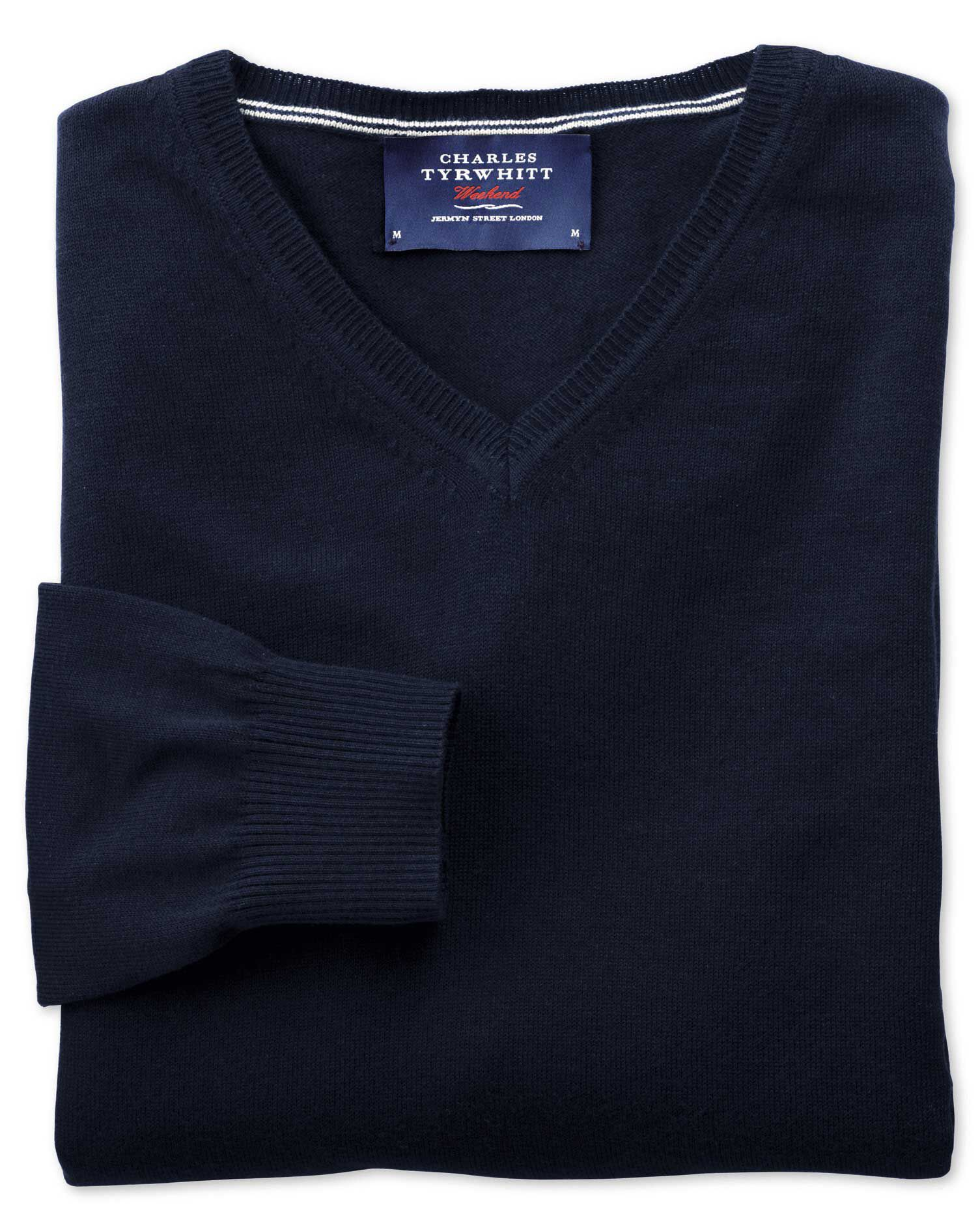 Navy Cotton Cashmere V-Neck Jumper Size Large by Charles Tyrwhitt
