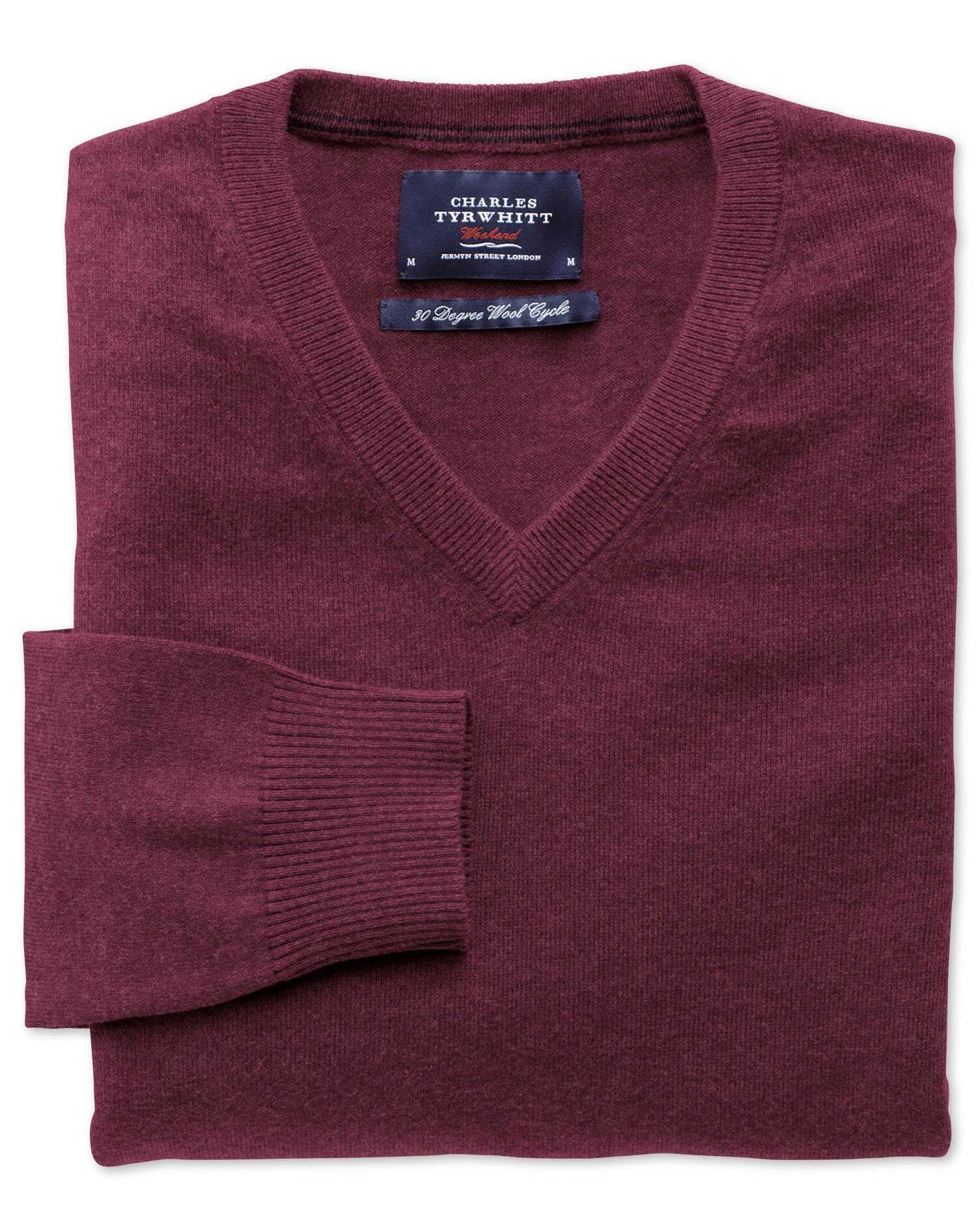 Wine Cotton Cashmere V-Neck Jumper Size XS by Charles Tyrwhitt