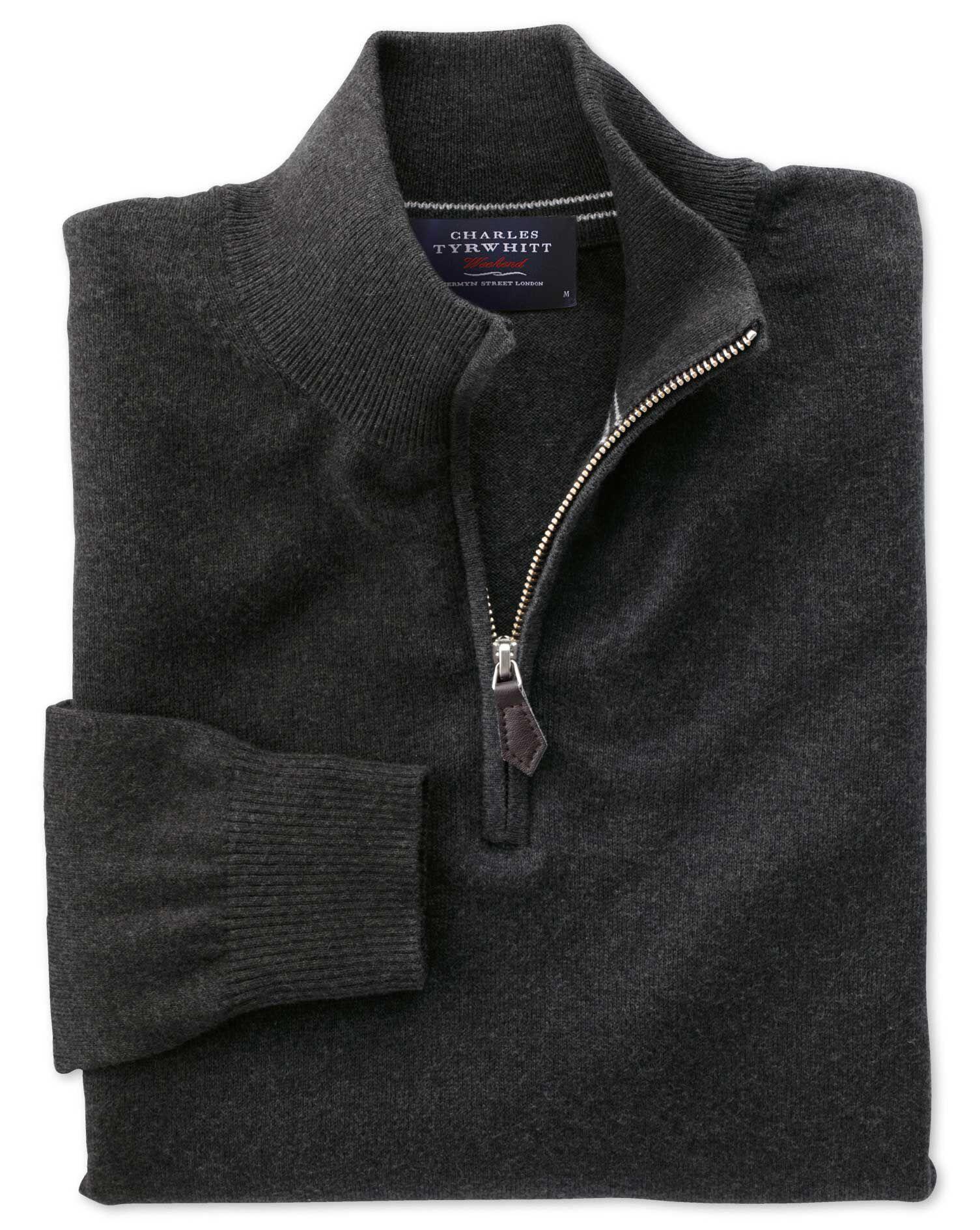 Charcoal Cotton Cashmere Zip Neck Jumper Size XXXL by Charles Tyrwhitt