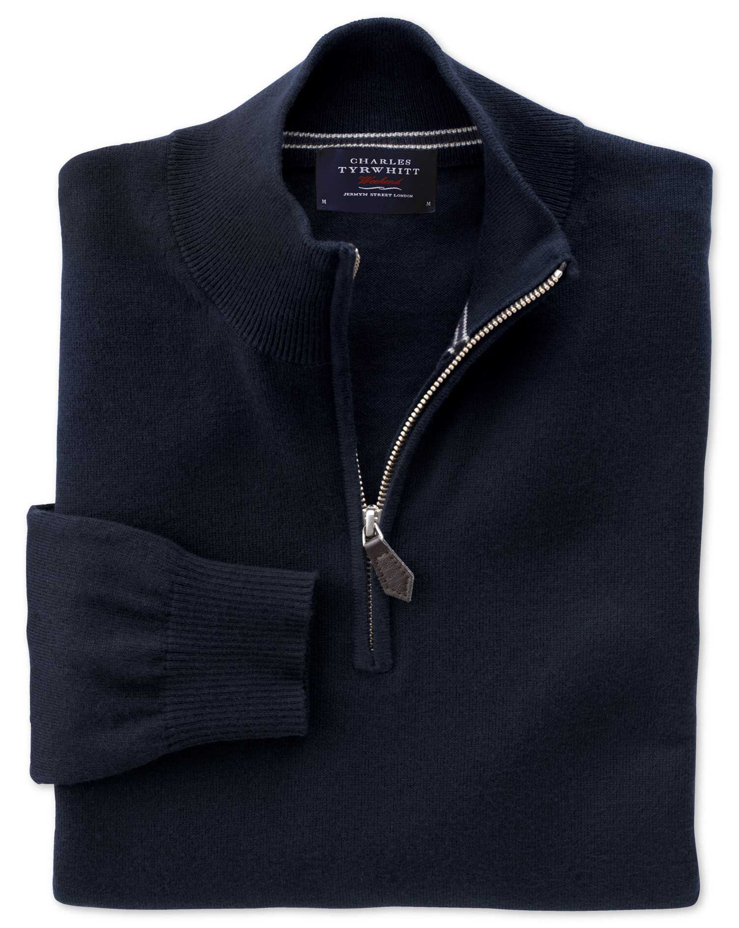 Navy Cotton Cashmere Zip Neck Jumper Size Small by Charles Tyrwhitt