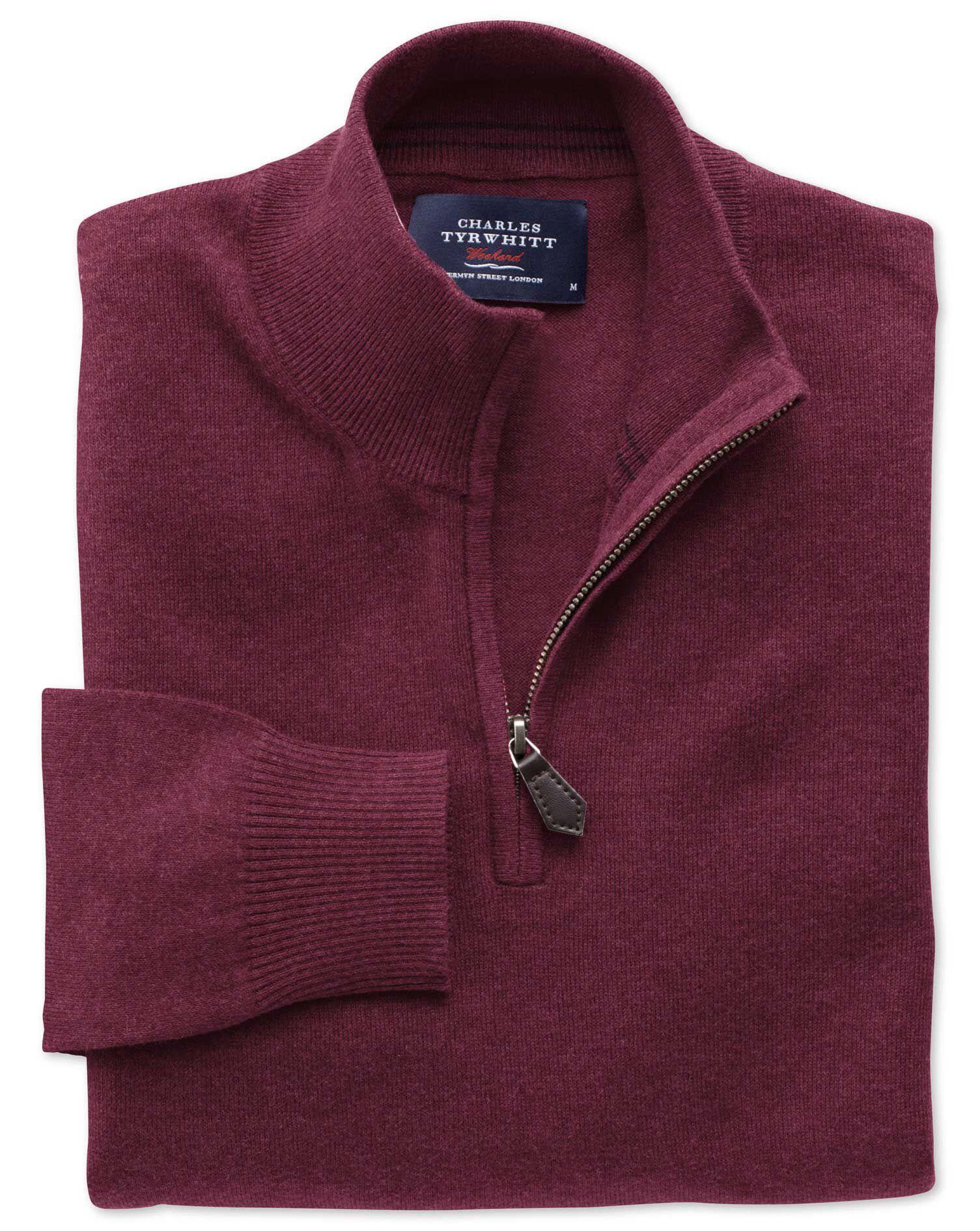 Wine Cotton Cashmere Zip Neck Jumper Size XS by Charles Tyrwhitt