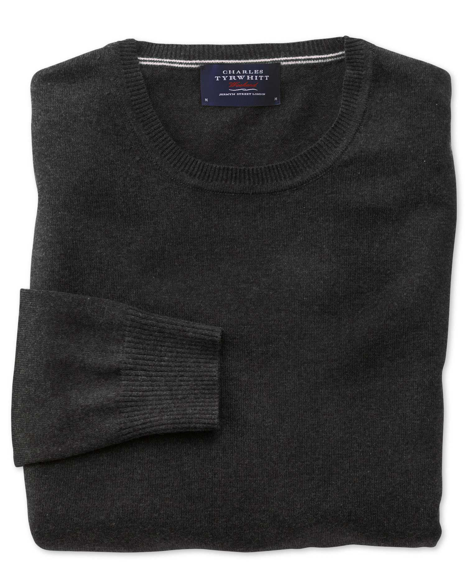 Charcoal Cotton Cashmere Crew Neck Jumper Size Large by Charles Tyrwhitt