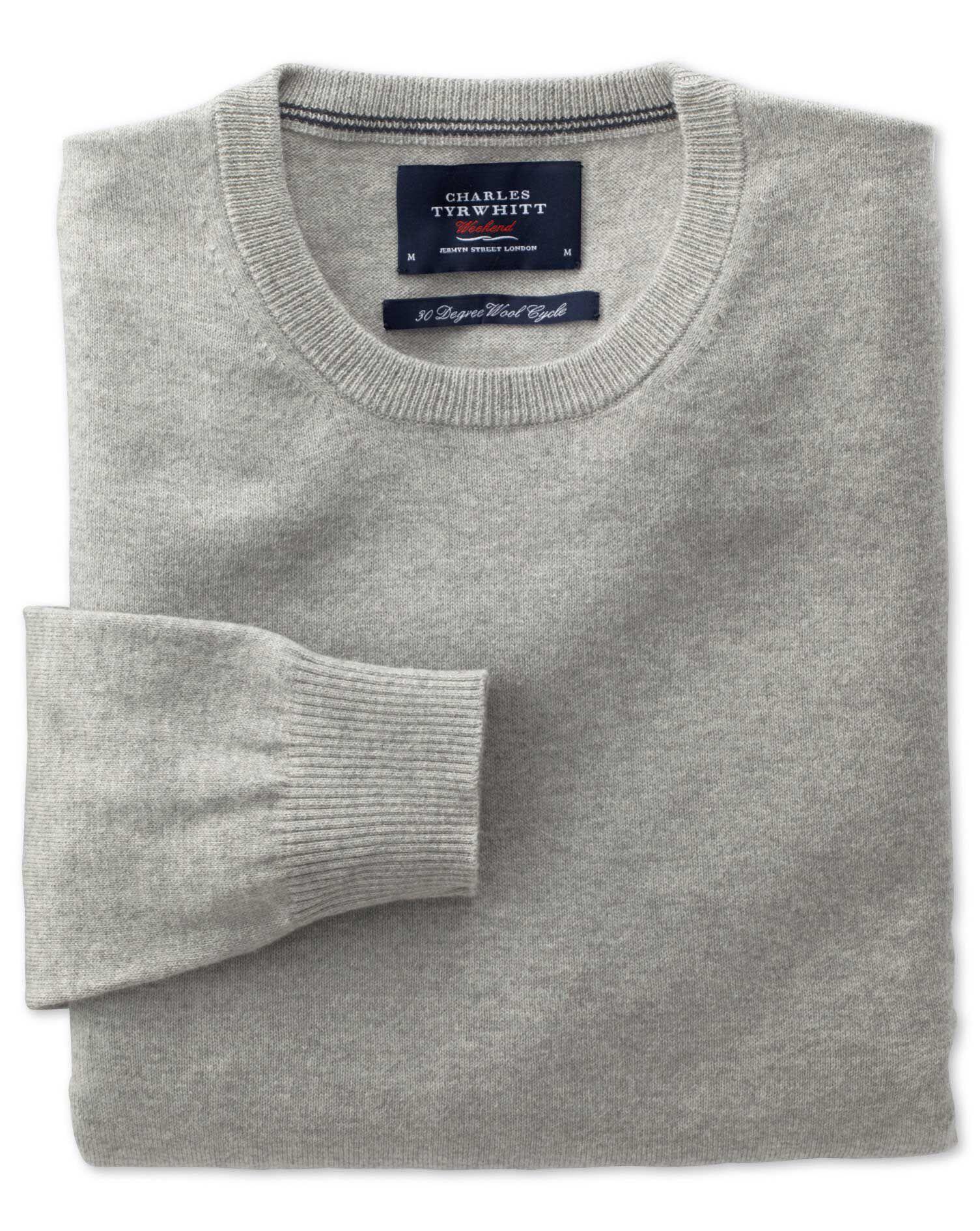Light Grey Cotton Cashmere Crew Neck Jumper Size XL by Charles Tyrwhitt