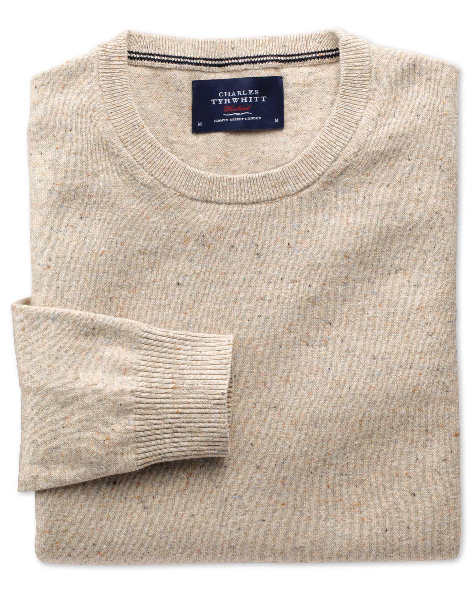 Stone Cotton Cashmere Crew Neck Jumper Size XXXL by Charles Tyrwhitt