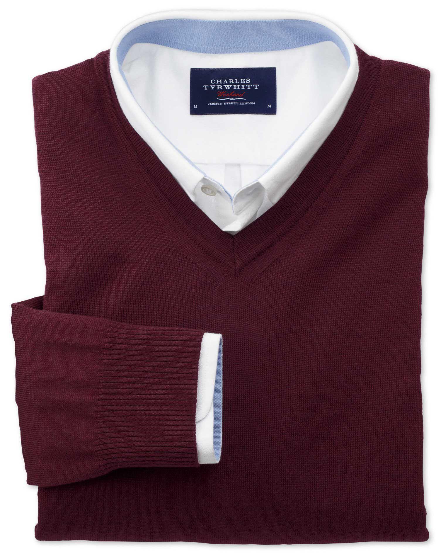 Wine Merino Wool V-Neck Jumper Size XL by Charles Tyrwhitt