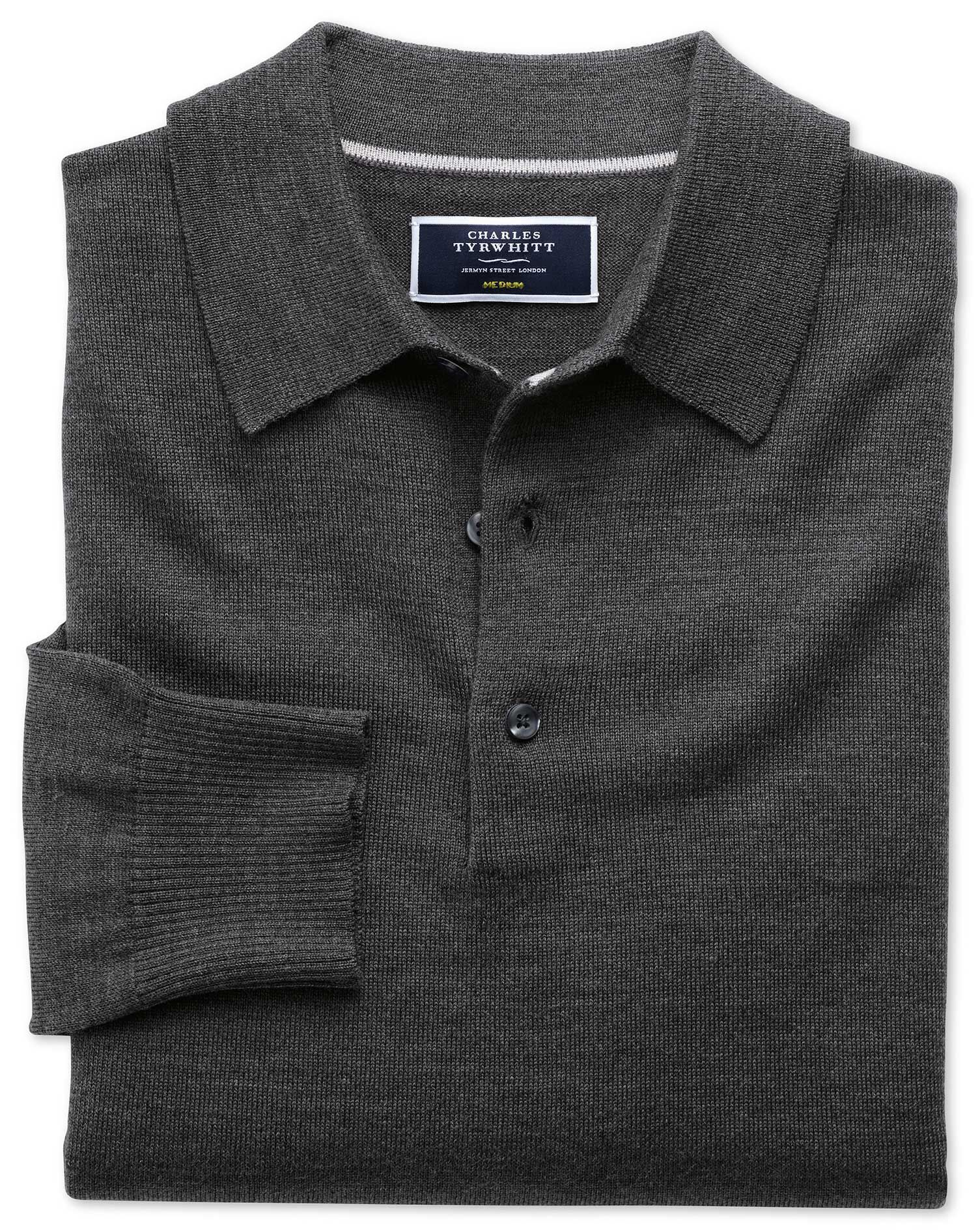 Charles Tyrwhitt Charcoal Merino Wool Polo Neck Jumper Size Large