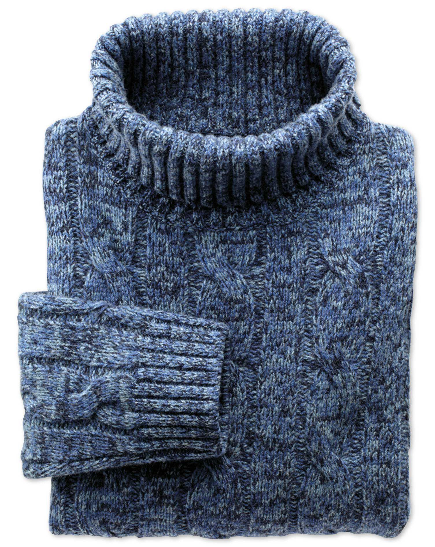 Blue Mouline Roll Neck Wool Jumper Size Large by Charles Tyrwhitt