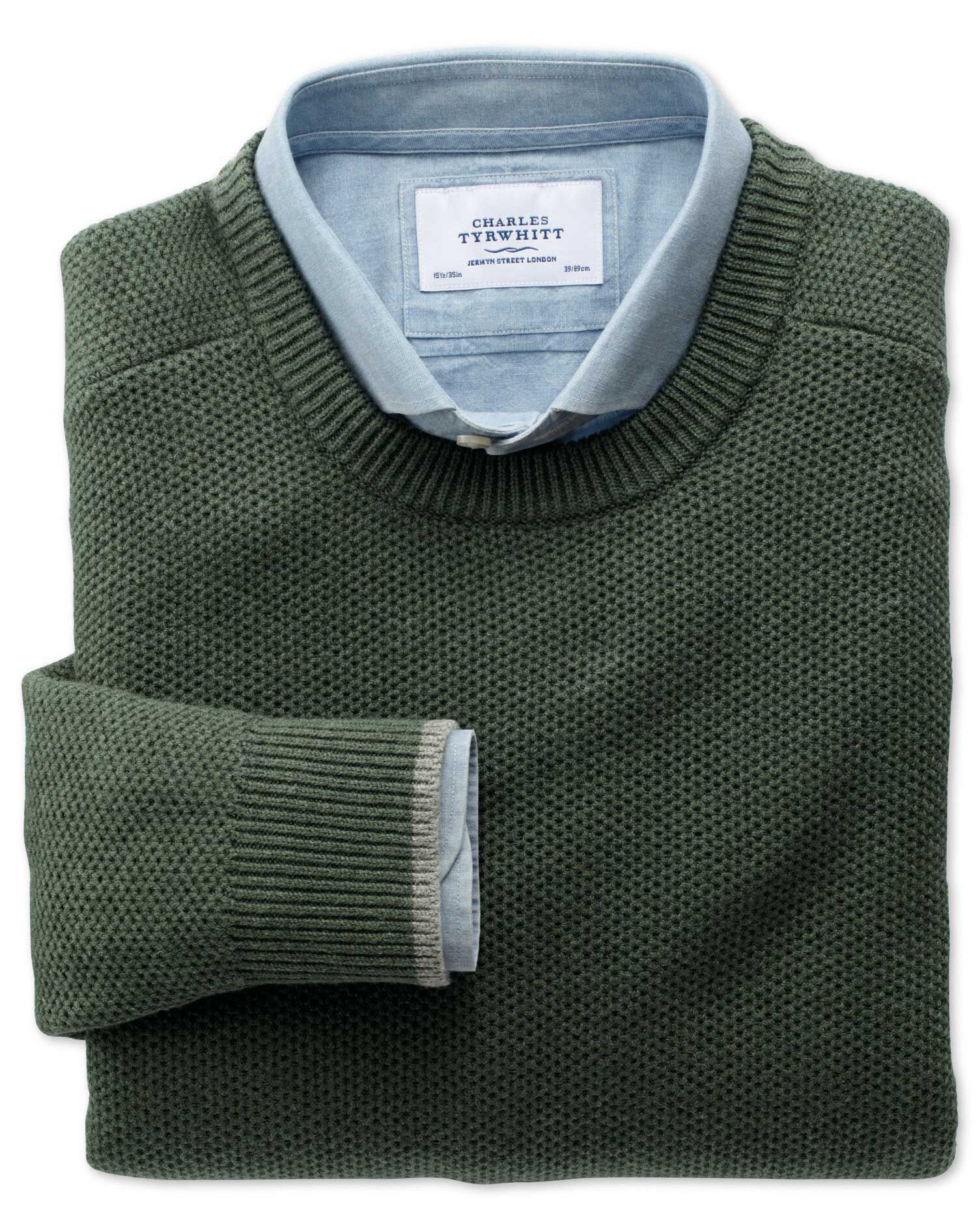 Olive Merino Cotton Crew Neck Wool Jumper Size Large by Charles Tyrwhitt
