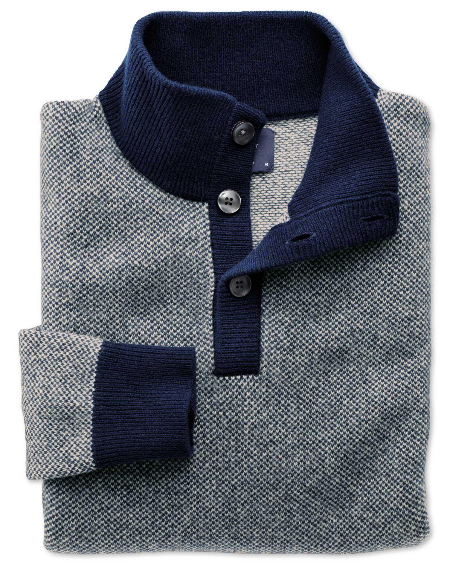 Blue Jacquard Button Neck Wool Jumper Size XXXL by Charles Tyrwhitt