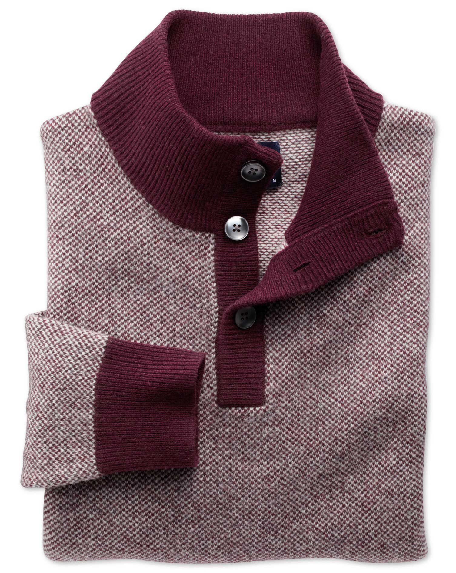 Wine Jacquard Button Neck Wool Jumper Size Large by Charles Tyrwhitt