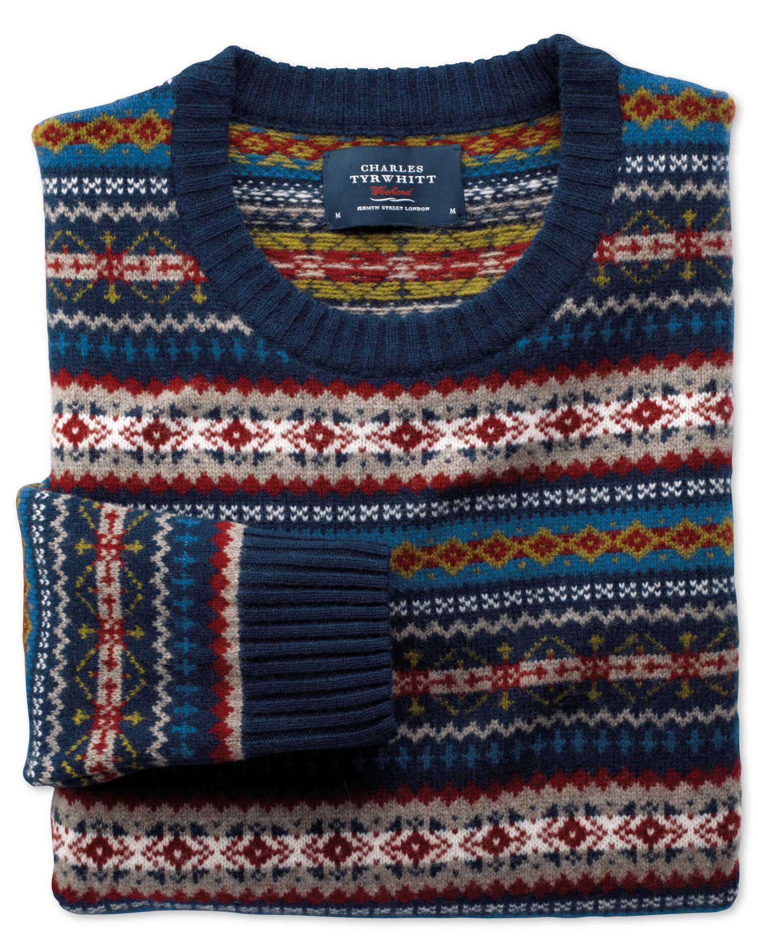 Men's Vintage Style Sweaters – 1920s to 1960s Multi Fairisle Crew Neck Wool Sweater Size XXL by Charles Tyrwhitt £69.00 AT vintagedancer.com