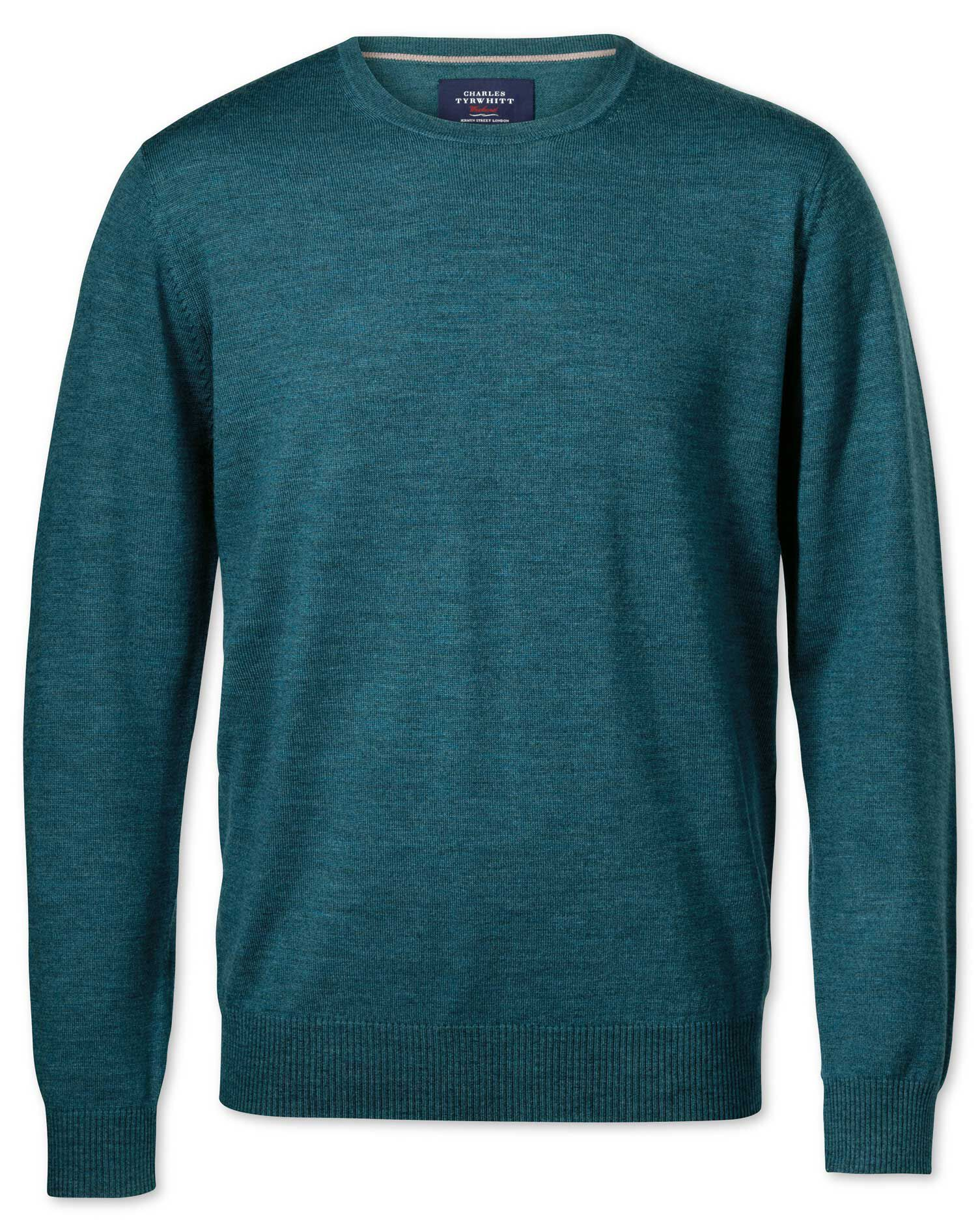 Teal Merino Crew Neck Wool Jumper Size XS by Charles Tyrwhitt