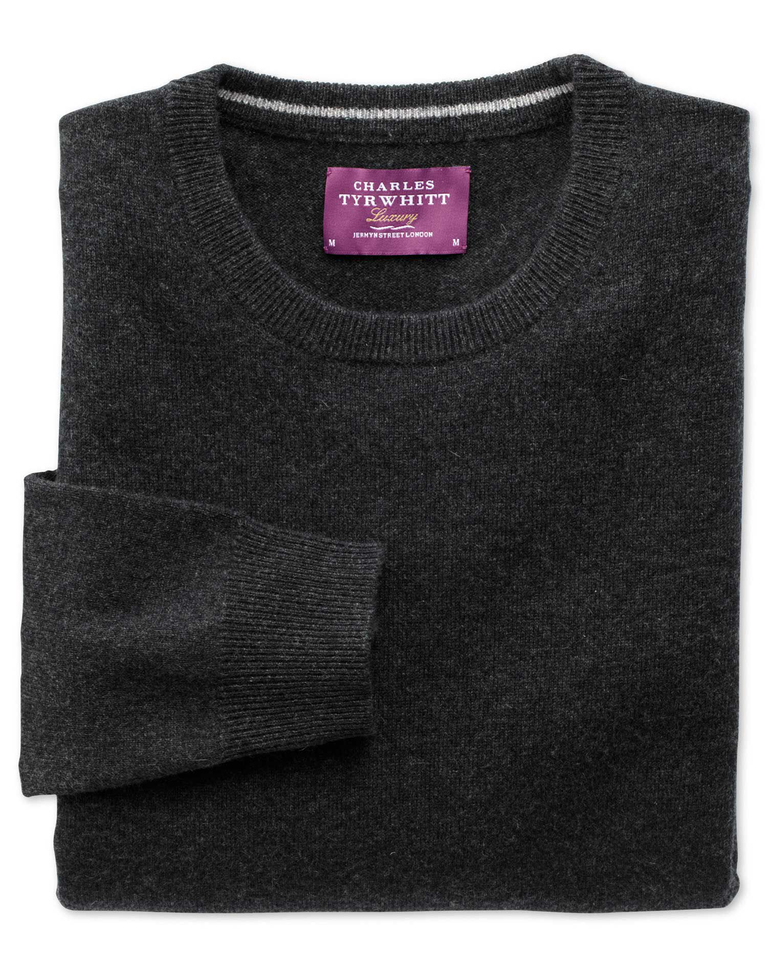 Charcoal Cashmere Crew Neck Jumper Size XS by Charles Tyrwhitt