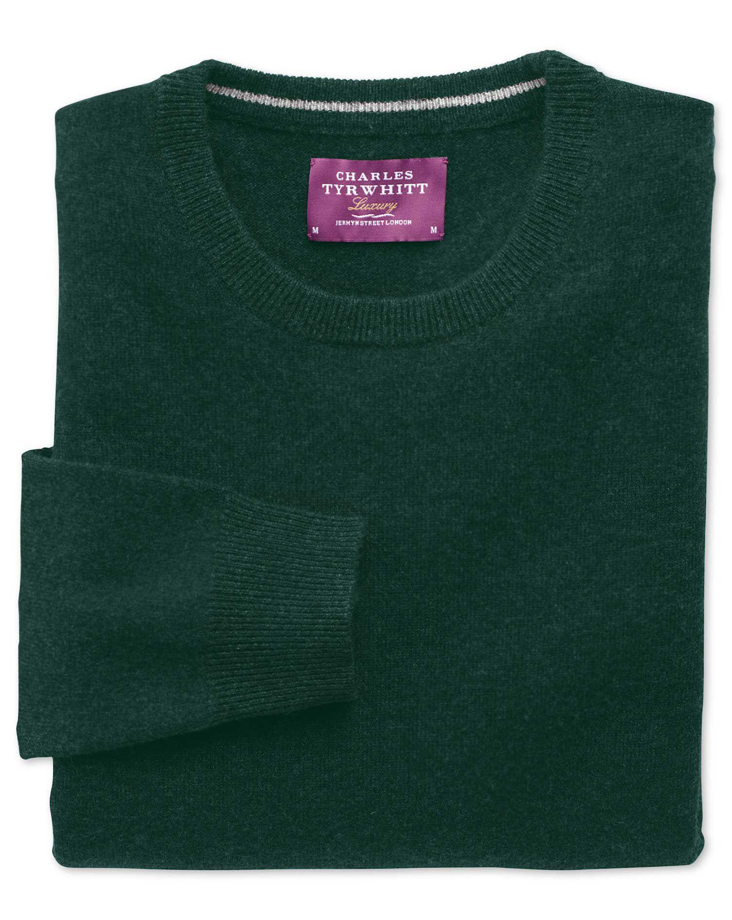Green Cashmere Crew Neck Jumper Size Medium by Charles Tyrwhitt