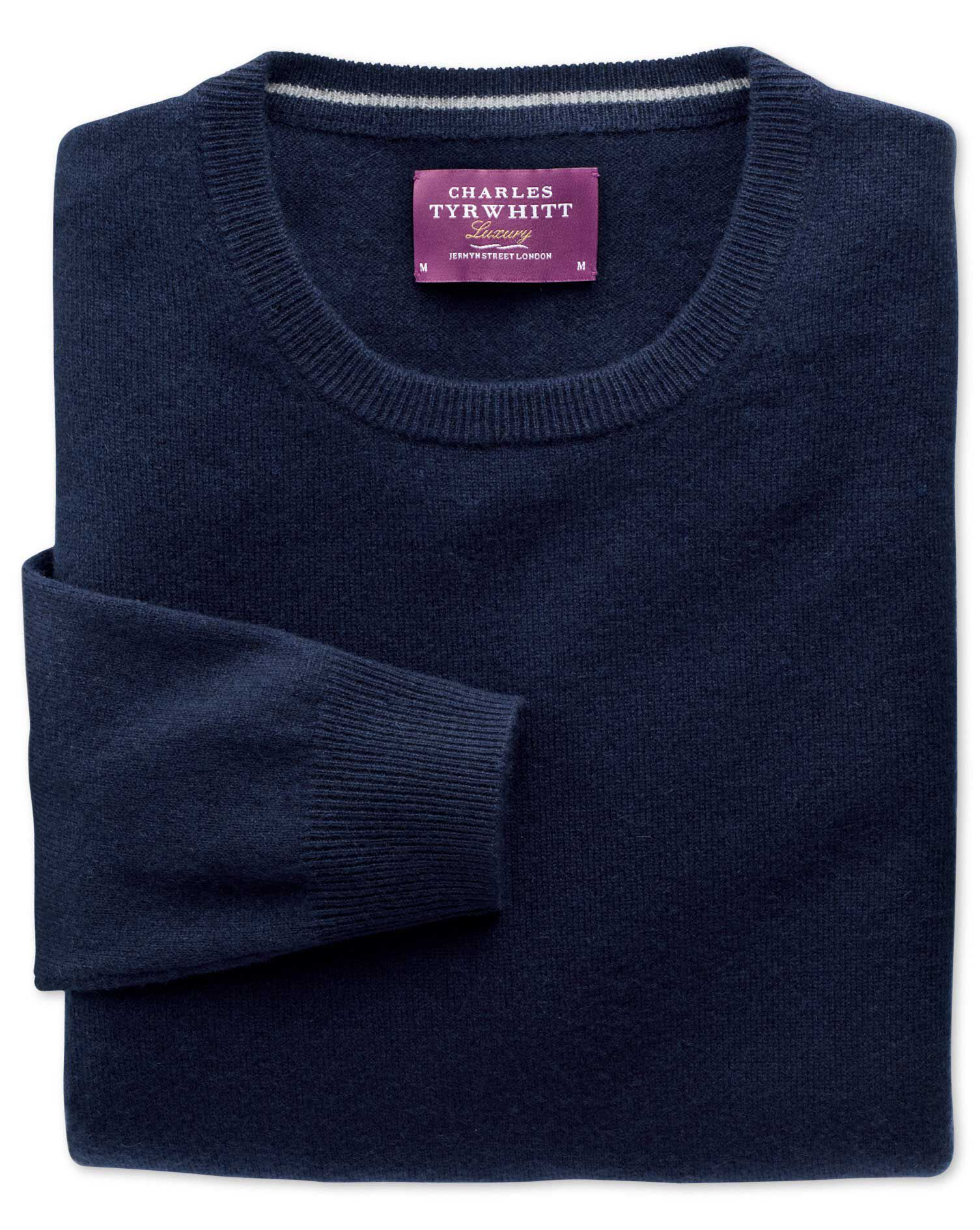 Navy Cashmere Crew Neck Jumper Size Large by Charles Tyrwhitt