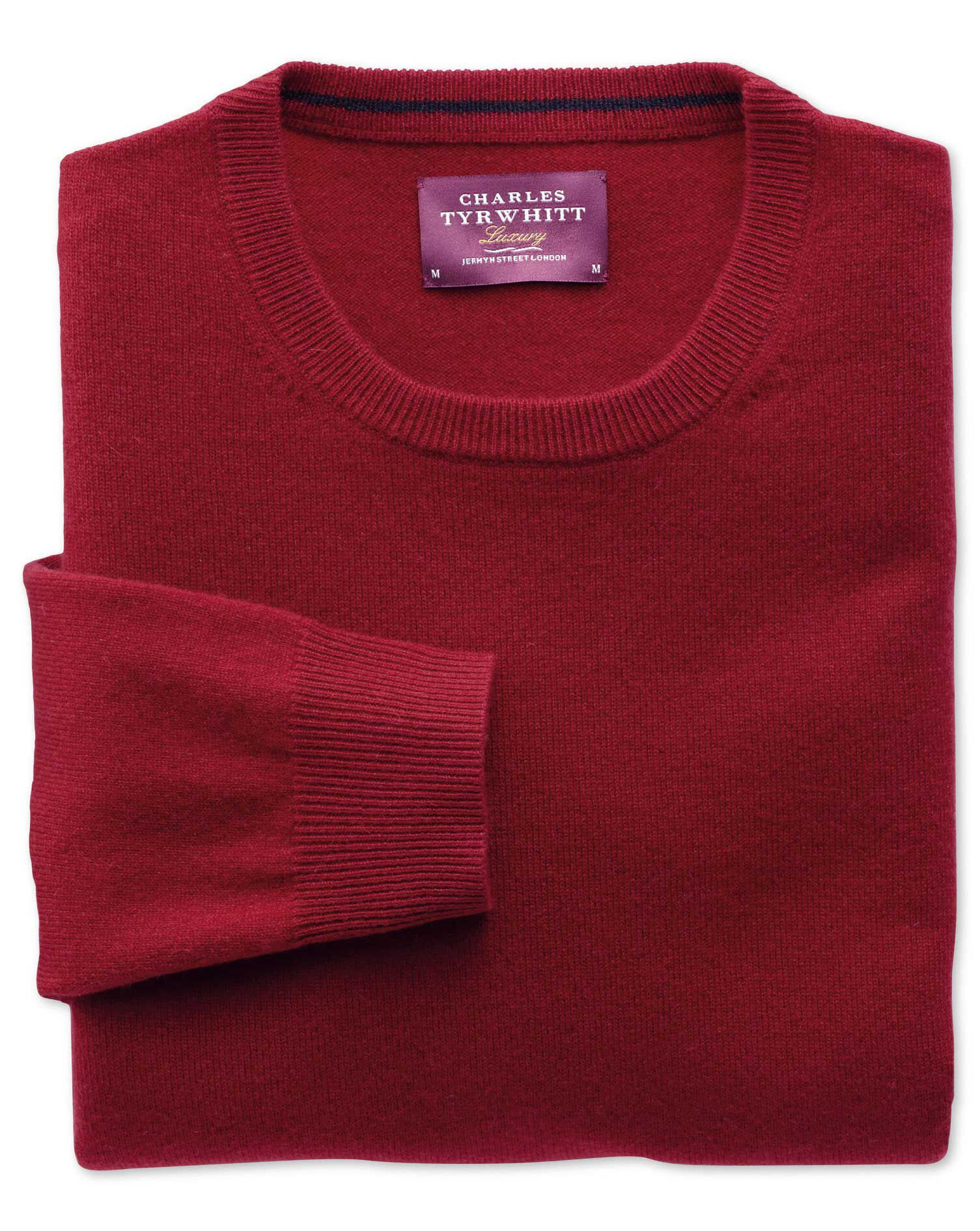 Red Cashmere Crew Neck Jumper Size XL by Charles Tyrwhitt