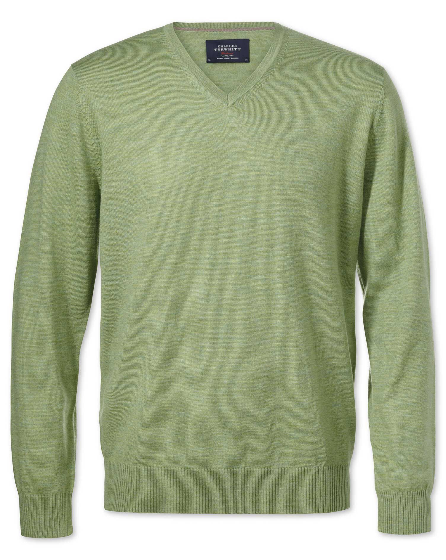 Light Green Merino Wool V-Neck Jumper Size Small by Charles Tyrwhitt